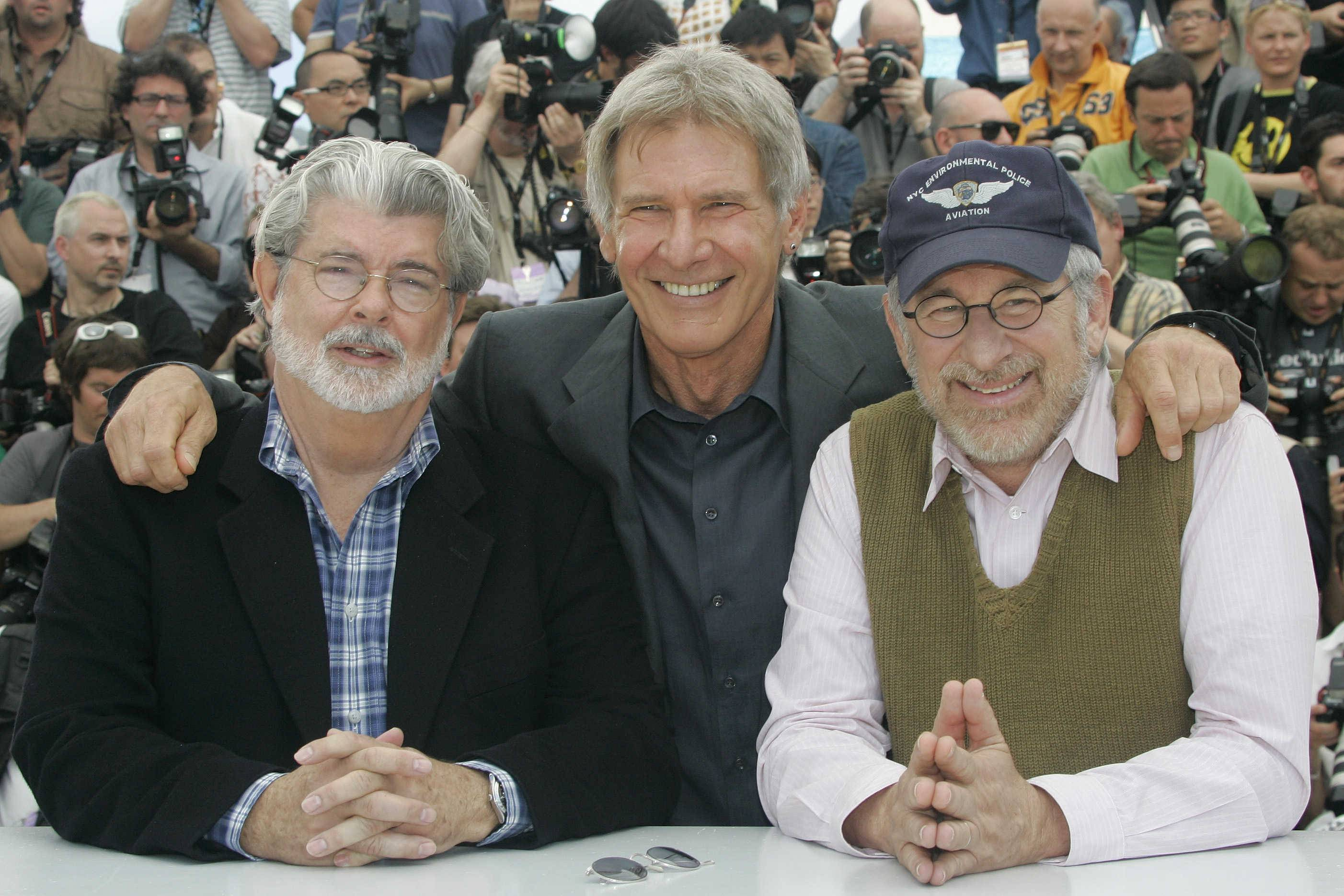 "American producer George Lucas, American actor Harrison Ford and American director Steven Spielberg pose for photographers at the ""Indiana Jones and the Kingdom of the Crystal Skull"" photo call during the 61st International film festival in Cannes, southern France, on Sunday, May 18, 2008."