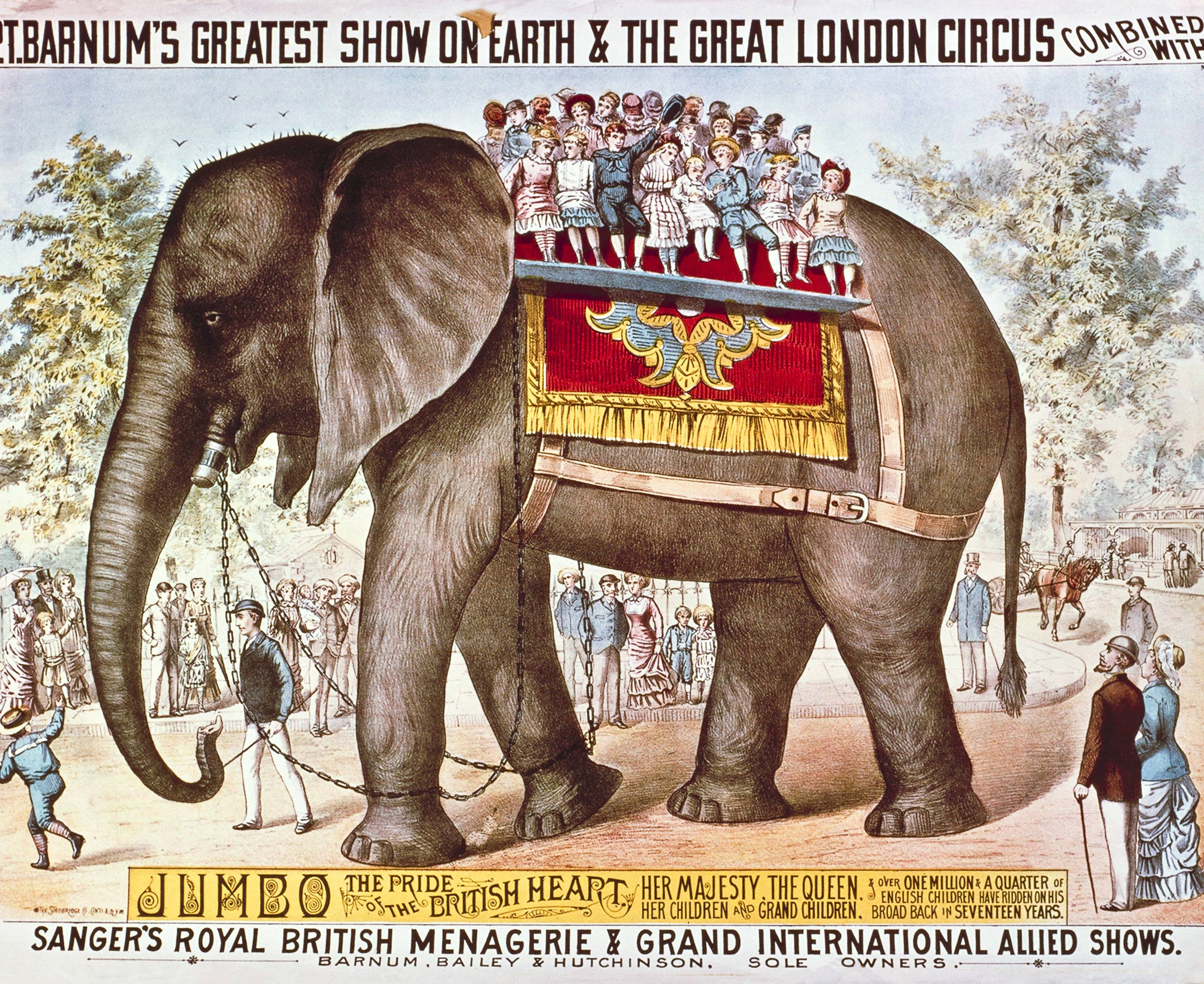 This undated poster provided by Feld Entertainment Inc., shows a poster depicting Jumbo the elephant, as part of the early days of the Ringling Bros. and Barnum & Bailey Circus.