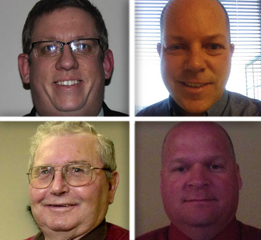 Upper from left, Dustin Heuser and Kurt Johnson and lower from left , Burnell Russell and Mike Wagner are candidates for Volo trustee in the 2015 election.