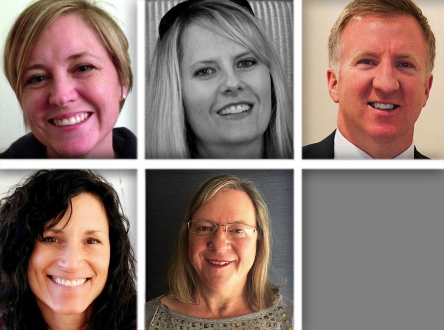 Upper from left, Cheryl Carroll, Greta Hoff and Christopher Kennedy and lower from left , Amy Williams and Linda Lucke are candidates for Libertyville Elementary District 70 in the 2015 election.