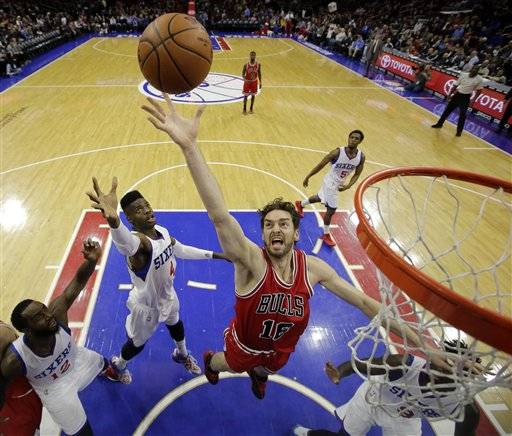 Chicago Bulls Pau Gasol 16 Of Spain Goes Up For A
