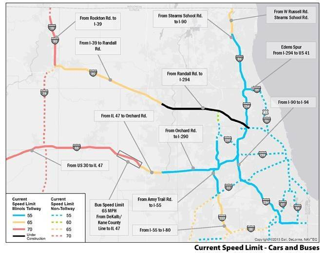 Tollway Speed Limits In Suburbs Likely Going Up - Us highway speed limits map