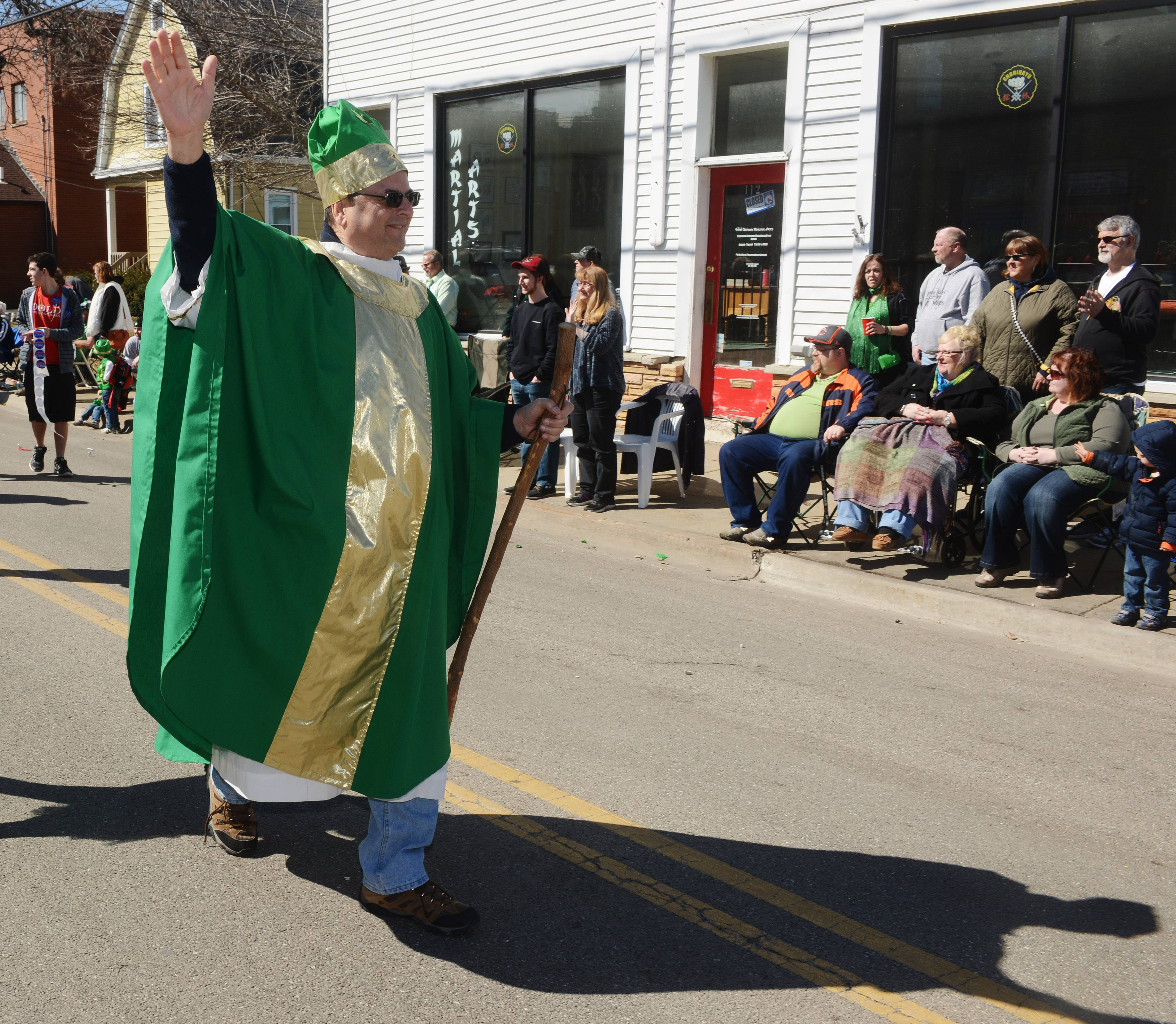 """St. Patrick"" Jim Barnowski marches in the Lake Villa St. Patrick's Day Parade Saturday."