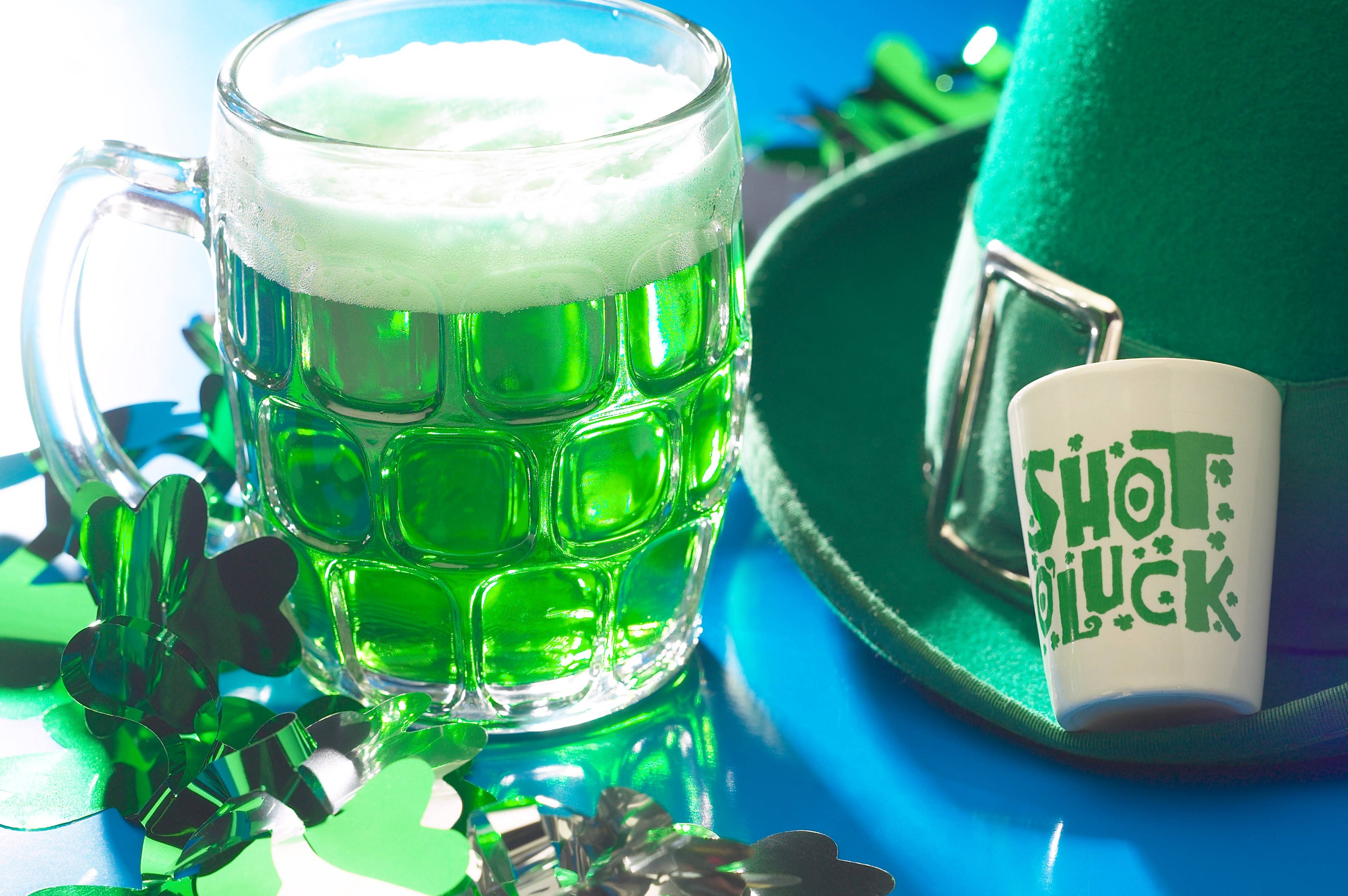 Green beer is part of the fun at the St. Patrick's Day festival at Finn McCool's Irish Pub in Schaumburg.