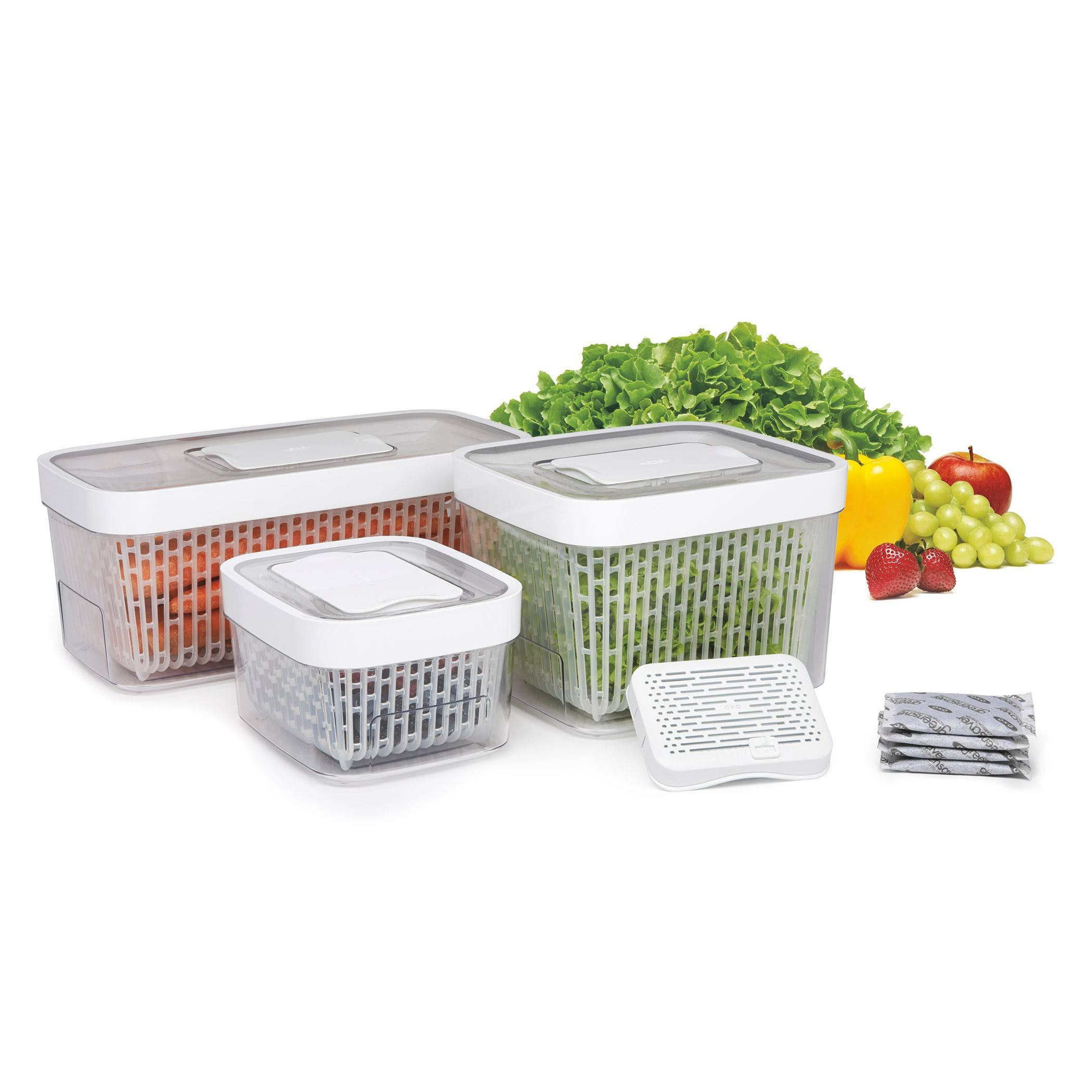 Keep it: A carbon packet that fits into the lid counteracts the gases that cause produce to wilt and over ripen in OXO's new line of GreenSaver Produce Keepers. The three-piece units feature a colander insert that allows air circulation, a sliding guard that can limit airflow and a guide to tell you how much airflow is appropriate for the most popular produce. Have turnips or papaya in your GreenSaver? Head to the OXO website for advice. Filters last 90 days. $14.99 (1.6 quart), $19.99 (4.3 quart), $24.99 (5 quart). Available in April at Bed, Bath and Beyond and specialty kitchen stores.