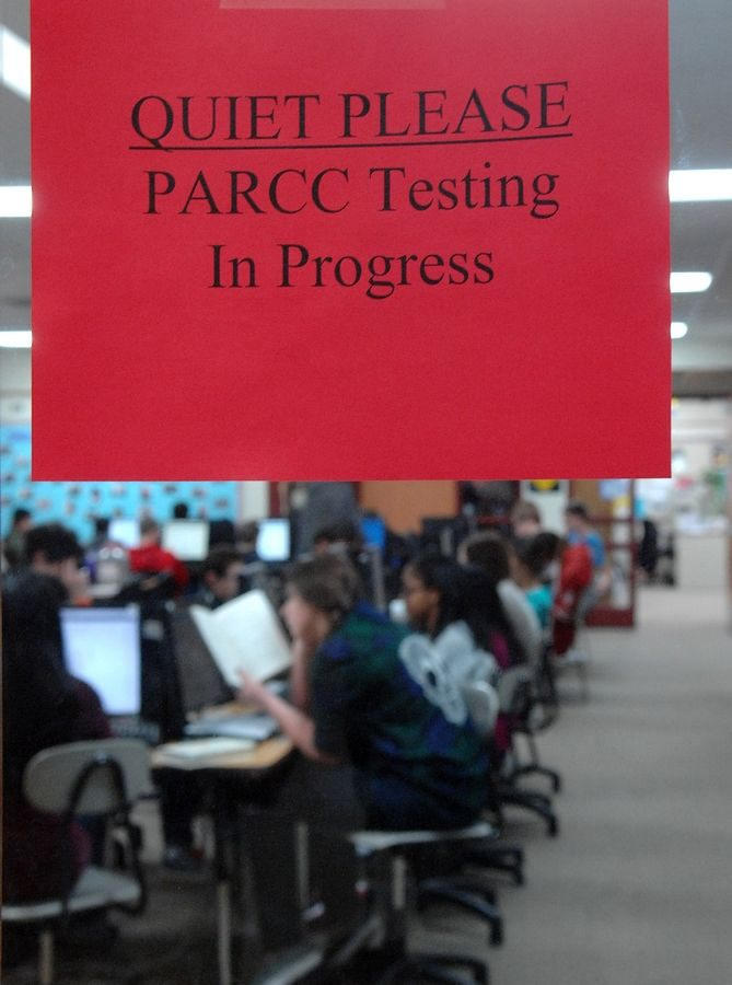 Students at Marlowe Middle School take the state's new standardized test, PARCC, Tuesday in Lake in the Hills.