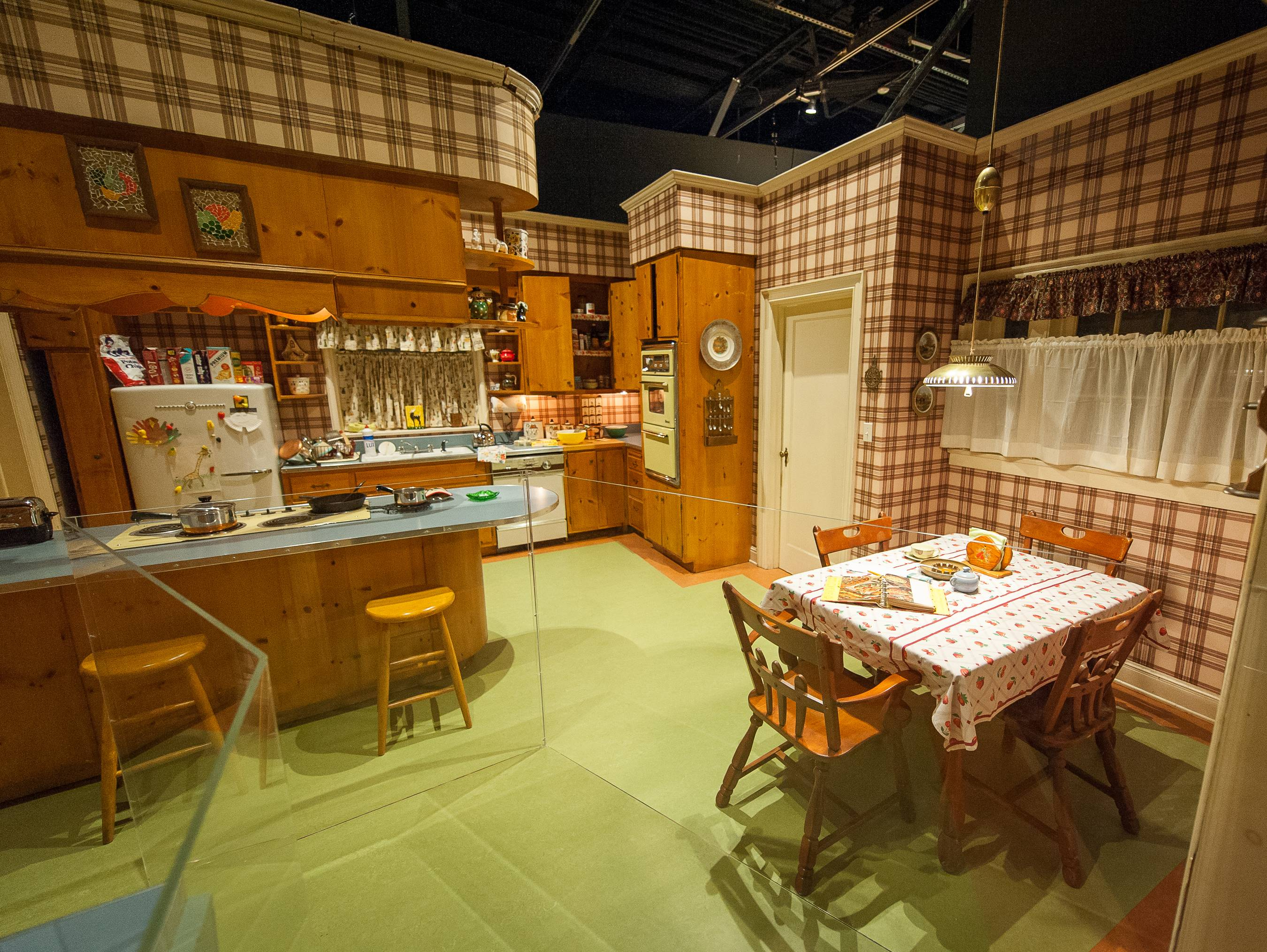 "The set of Betty and Don Draper's kitchen in their suburban Ossining, N.Y., home, featured in seasons 1-4 of ""Mad Men,"" is displayed as part of the exhibition ""Matthew Weiner's Mad Men"" at the Museum of the Moving Image in New York. The exhibit runs through June 14."
