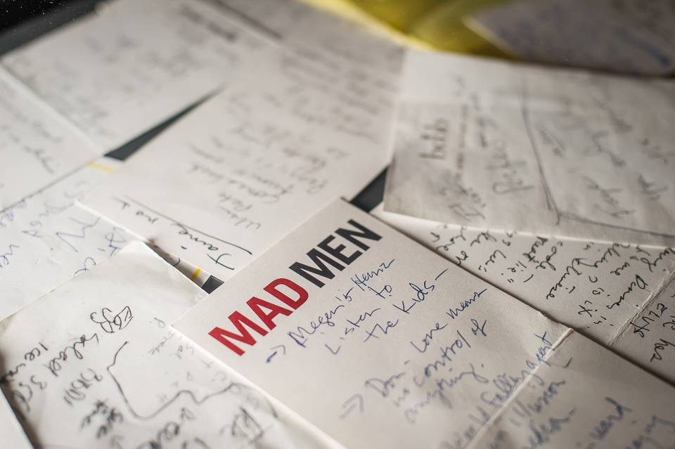 "Notes and storylines for ""Mad Men,"" scribbled by Matthew Weiner, are displayed as part of the exhibition ""Matthew Weiner's Mad Men"" at the Museum of the Moving Image in New York."