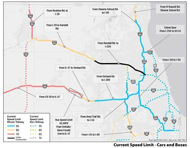 A map shows the current speed limits on the tollways.