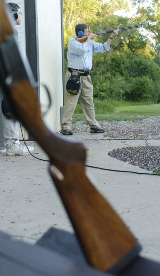A resident shoots skeet at the Aurora Sportsmen's Club in the Bliss Woods Forest Preserve in Sugar Grove. The club, which now shoots in Waterman, recently settled a lawsuit involving lead shot contamination at the forest preserve.