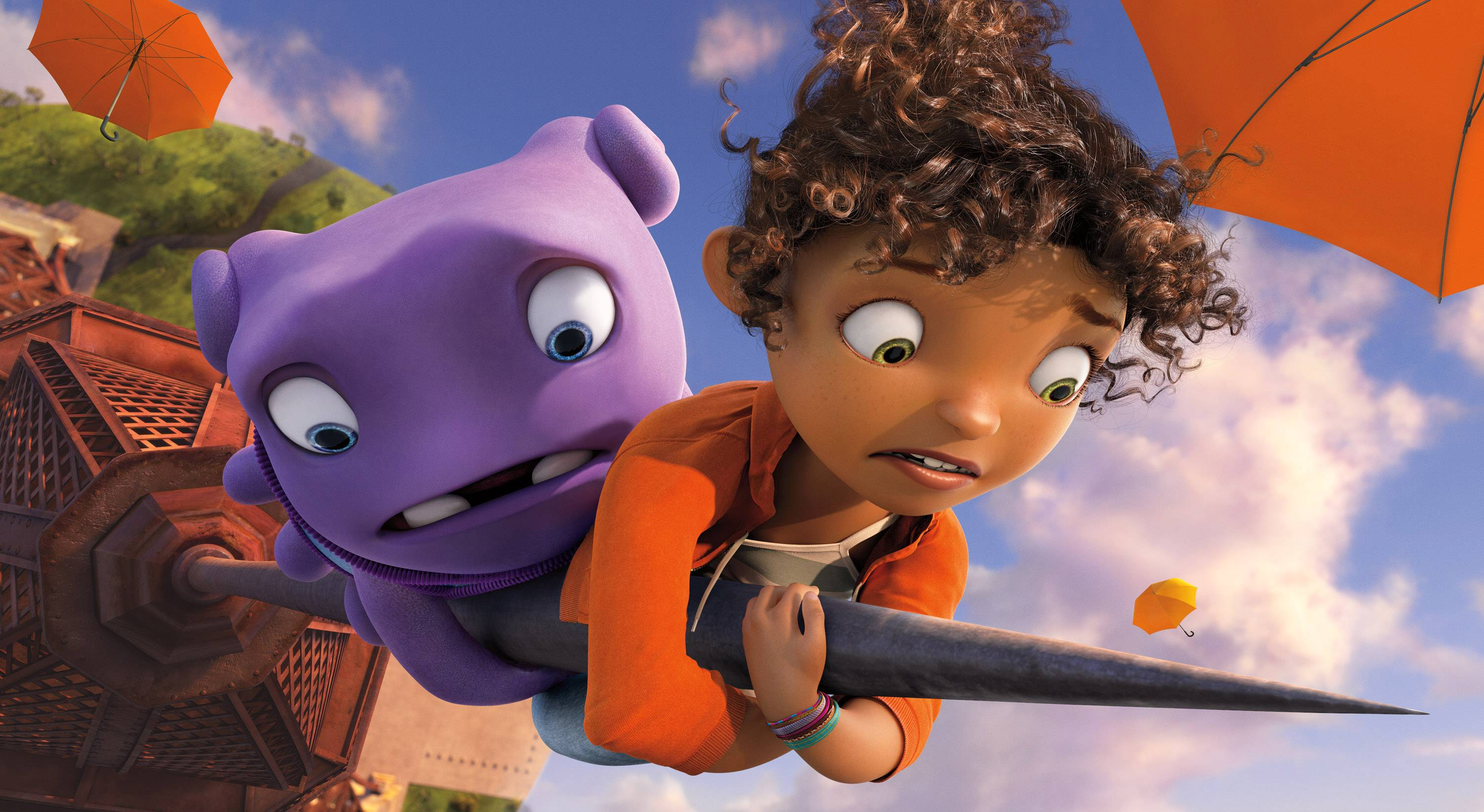 "Oh (voiced by Jim Parsons), left, and Tip (Rihanna) get into a bit of trouble in ""Home."""