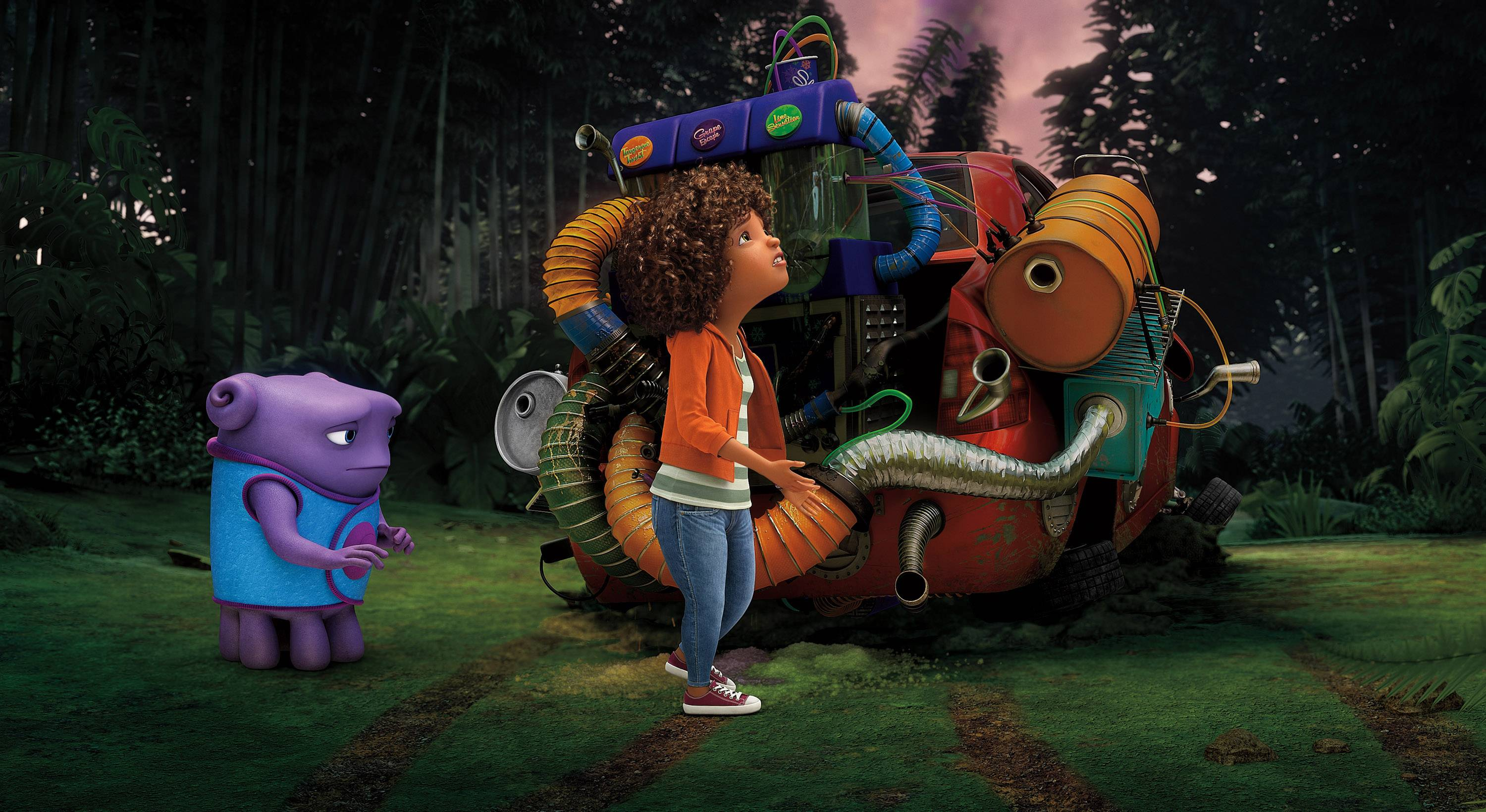 "Characters Oh, voiced by Jim Parsons, left, and Tip, voiced by Rihanna appear in a scene from the animated film ""Home,"" which took the top spot at the box office with $54 million."
