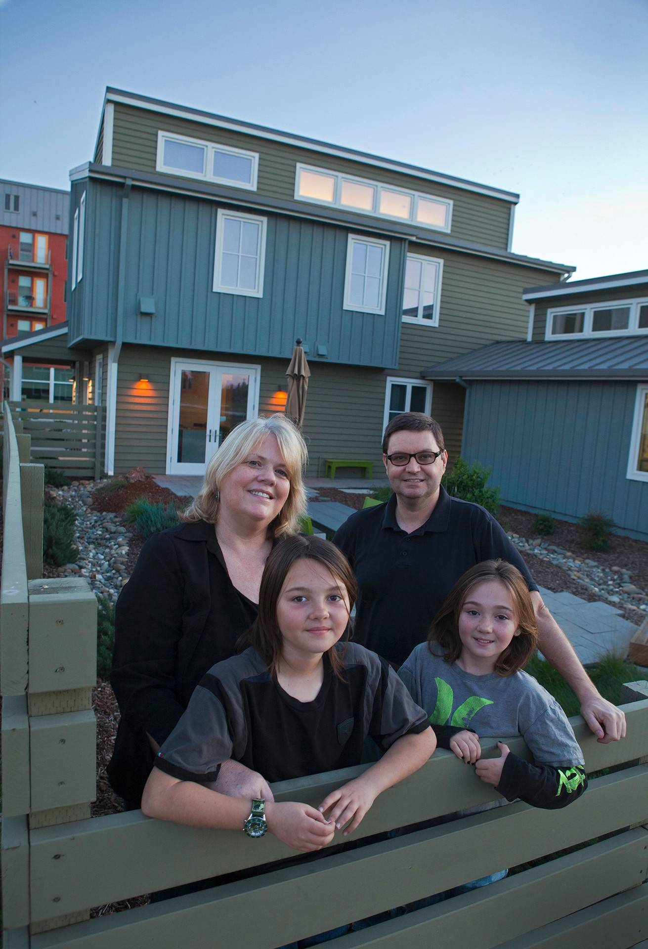 Susan O'Hara and Stewart Bennett with their daughters Aisling, left, and Sabha, are part of Honda's sustainable home experiment.