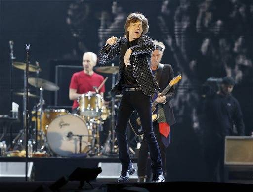 Mick Jagger and the Rolling Stones performing during their concert at Tokyo Dome in Tokyo. The b