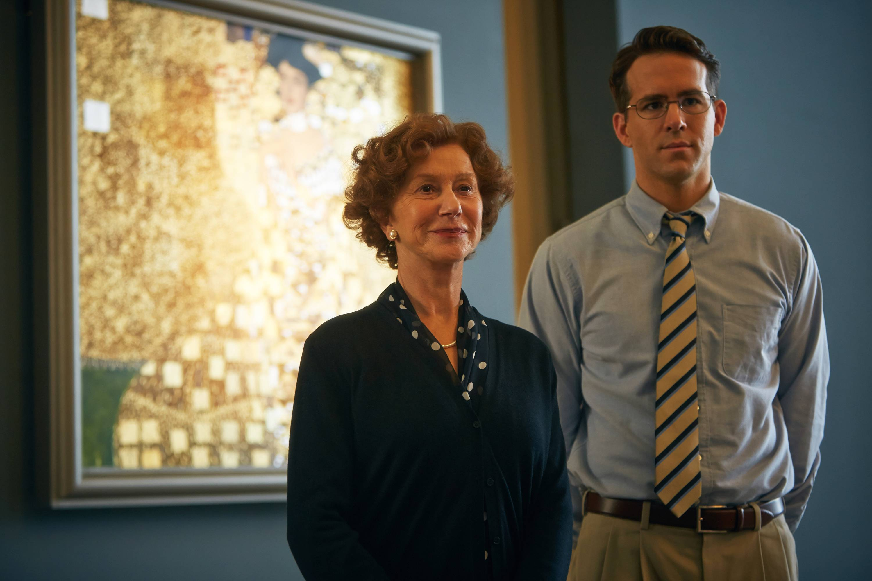 "Maria (Helen Mirren) seeks help from lawyer Randy (Ryan Reynolds) to retrieve a painting of her aunt, looted by the Nazis during World War II, in ""Woman in Gold."""