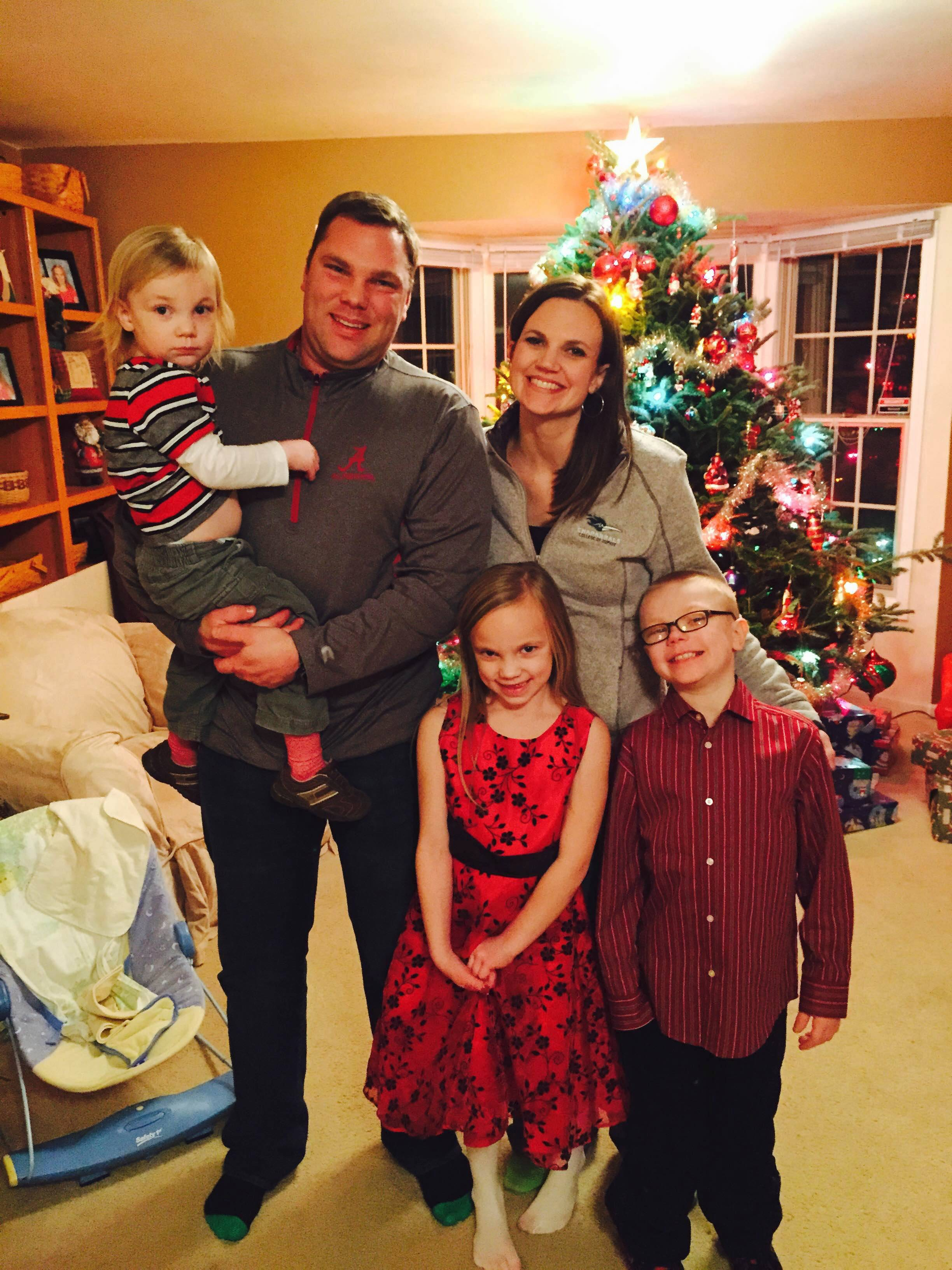 Owen Payton, right, celebrates the holidays with his family, parents Chris and Christina, and sister Juliet and brother Tredway.