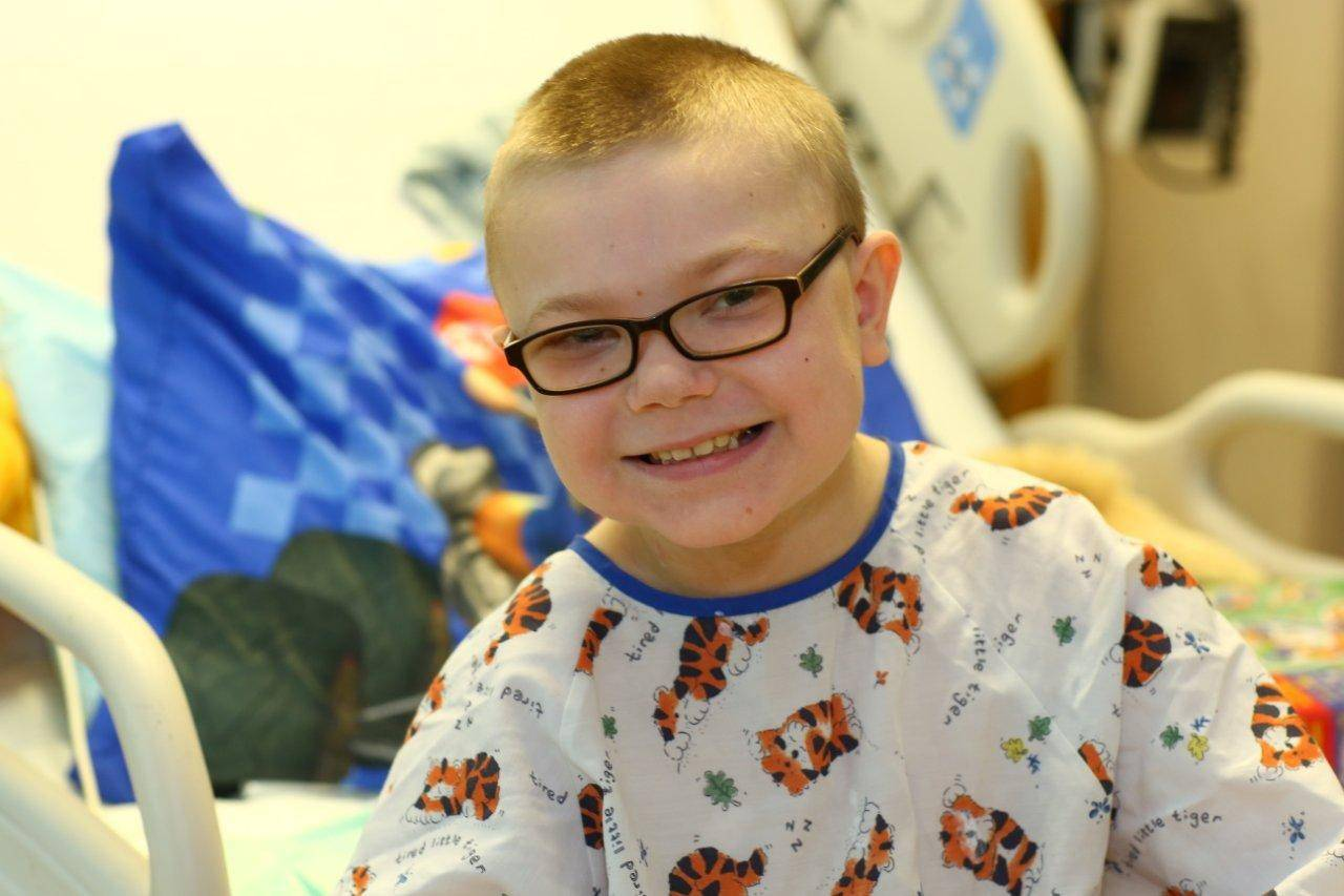 Owen Payton is all smiles during his heart transplant followup appointment last fall at Lurie Children's Hospital.