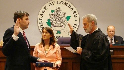 Peter Breen is sworn in as Lombard mayor, a job he held before being elected to the legislature.