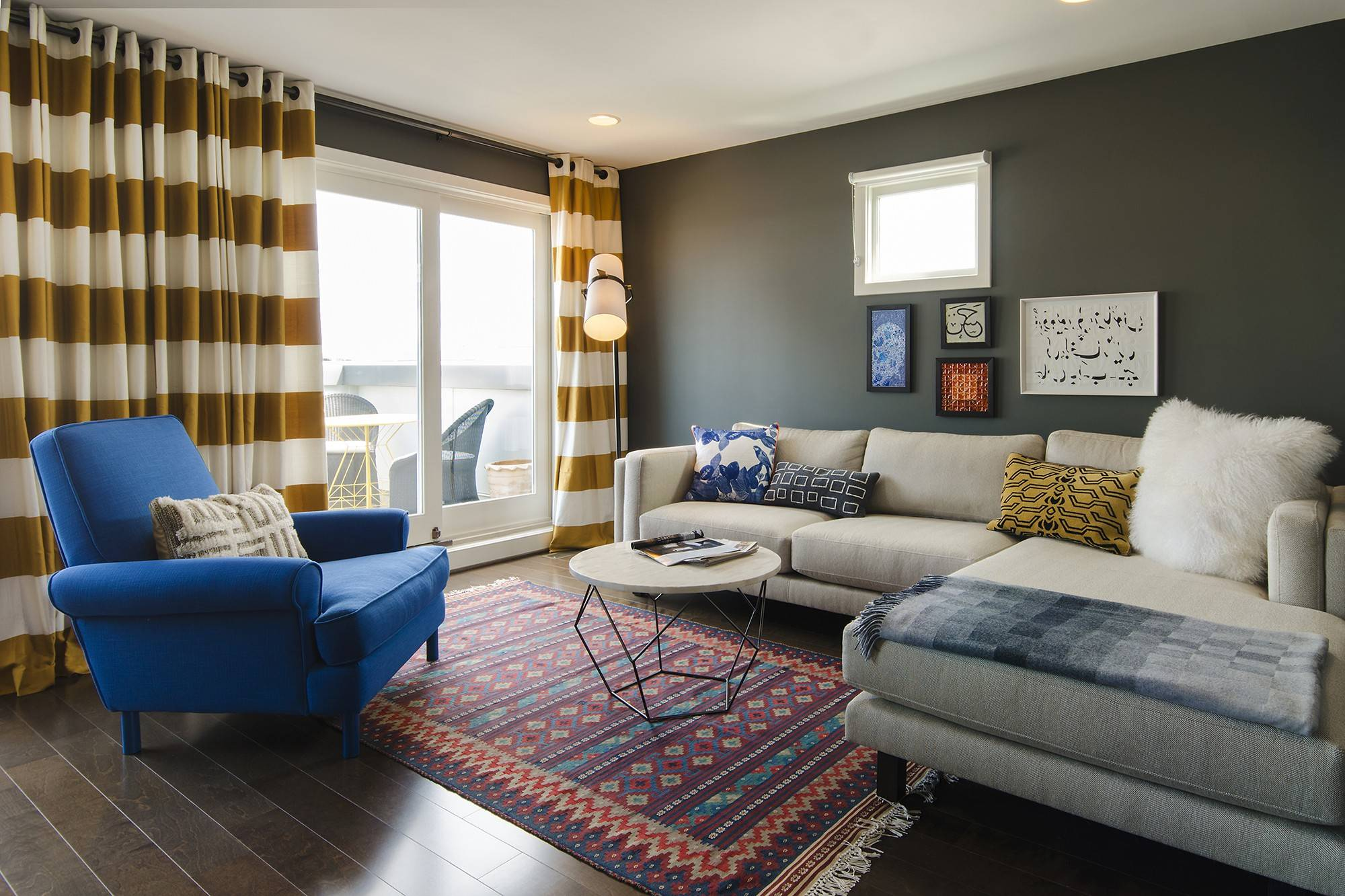 A tight layout gets more wiggle room with a sectional, says designer Nicole Lanteri, who designed this living room.