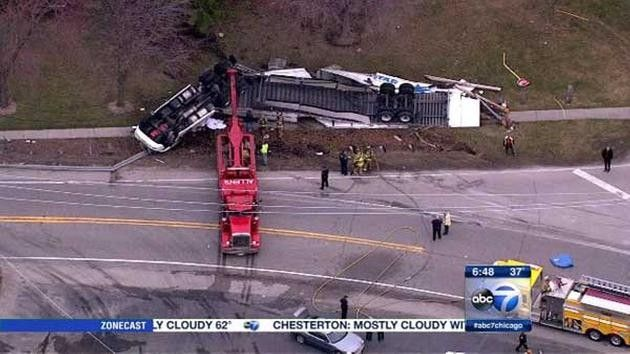 A 12-year-old Indiana girl was killed Monday morning after the semitrailer truck she was riding in overturned on Route 20 in Pingree Grove, authorities said.