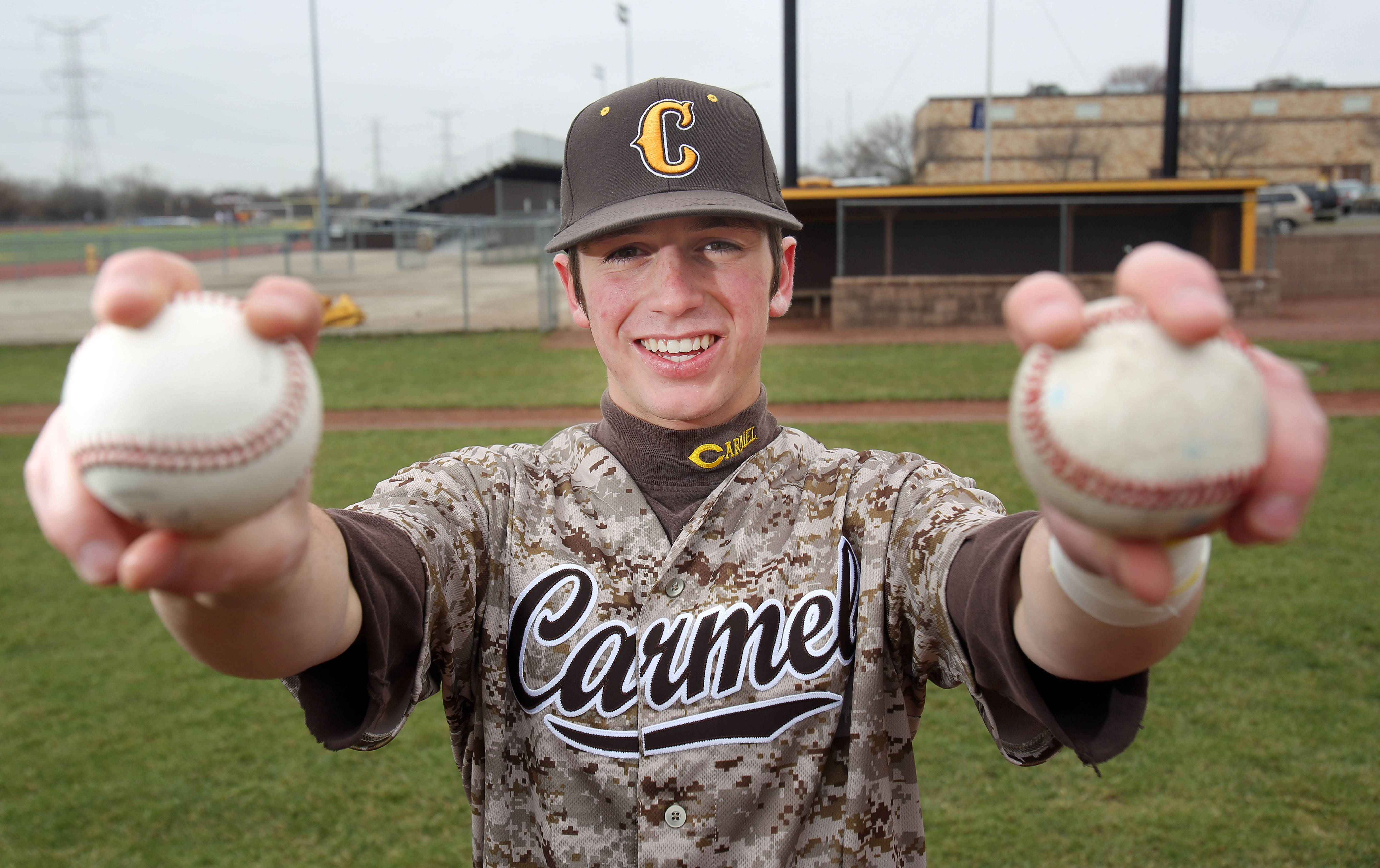 Carmel's Joe Santoro has the ability to pitch both right- and left-handed, and frequently does so in games.