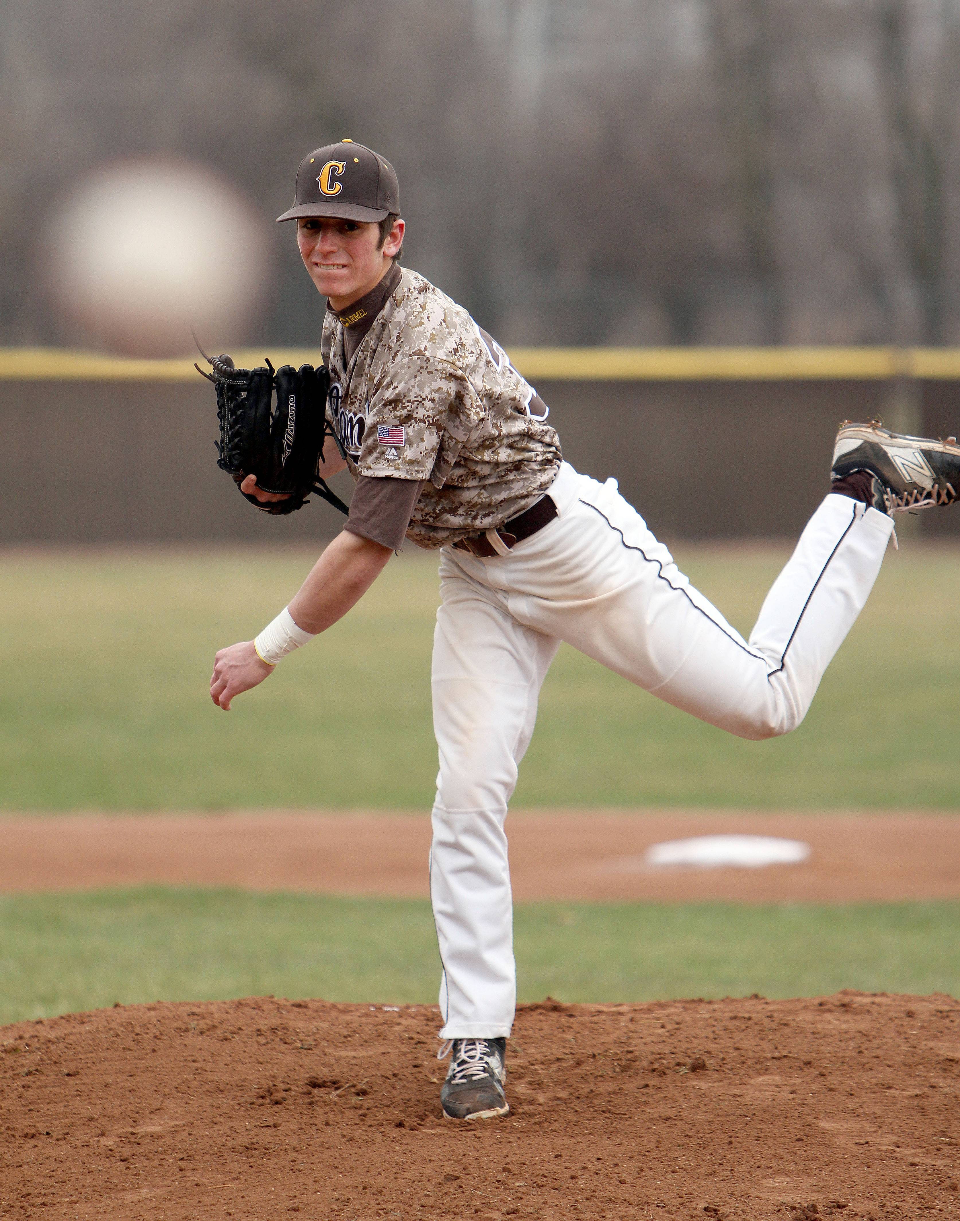 Carmel's Joe Santoro displays his left-handed delivery; he can also pitch right-handed.
