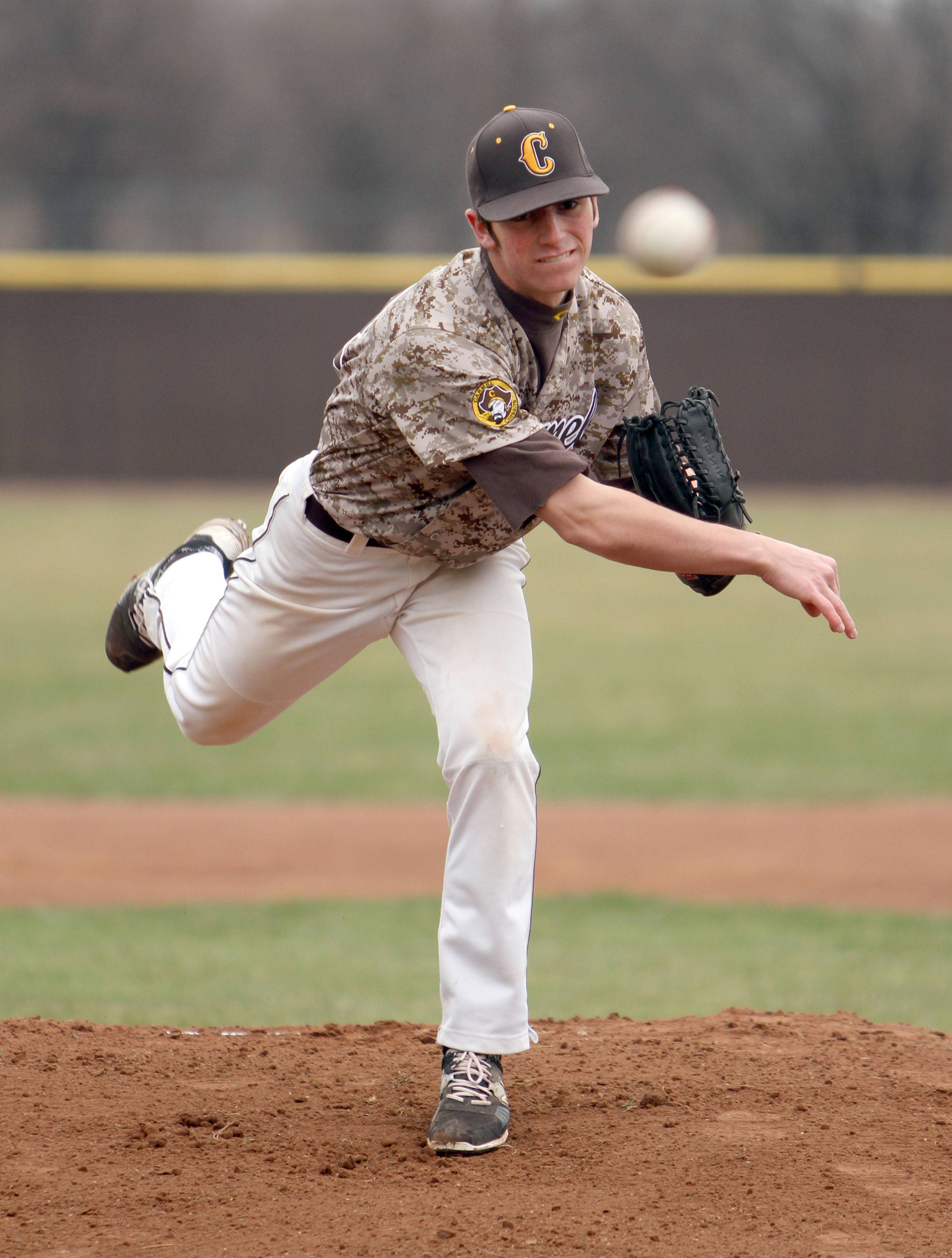 Carmel's Joe Santoro displays his right-handed delivery; he can also pitch left-handed.