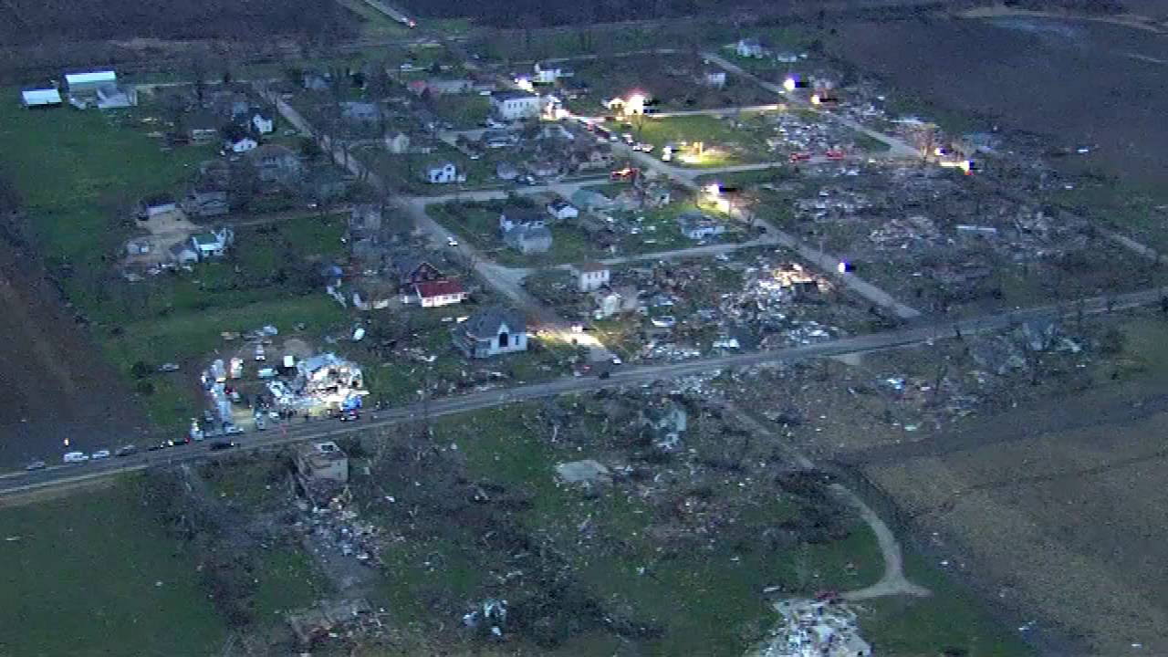 Aerial views of the tornado damage in Fairdale. Photo taken Friday morning from the Thursday night tornado.