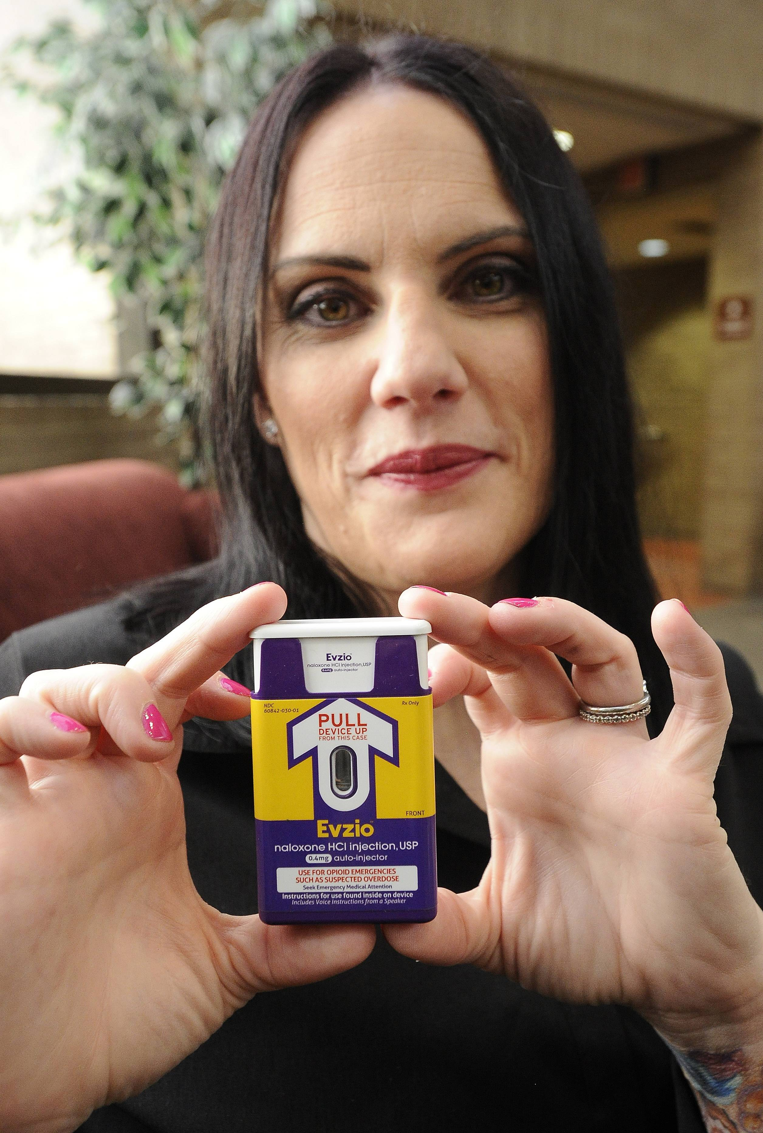 Genevieve Przybylo of the Live 4 Lali organization shows off the heroin overdose antidote that the Arlington Heights police will carry.