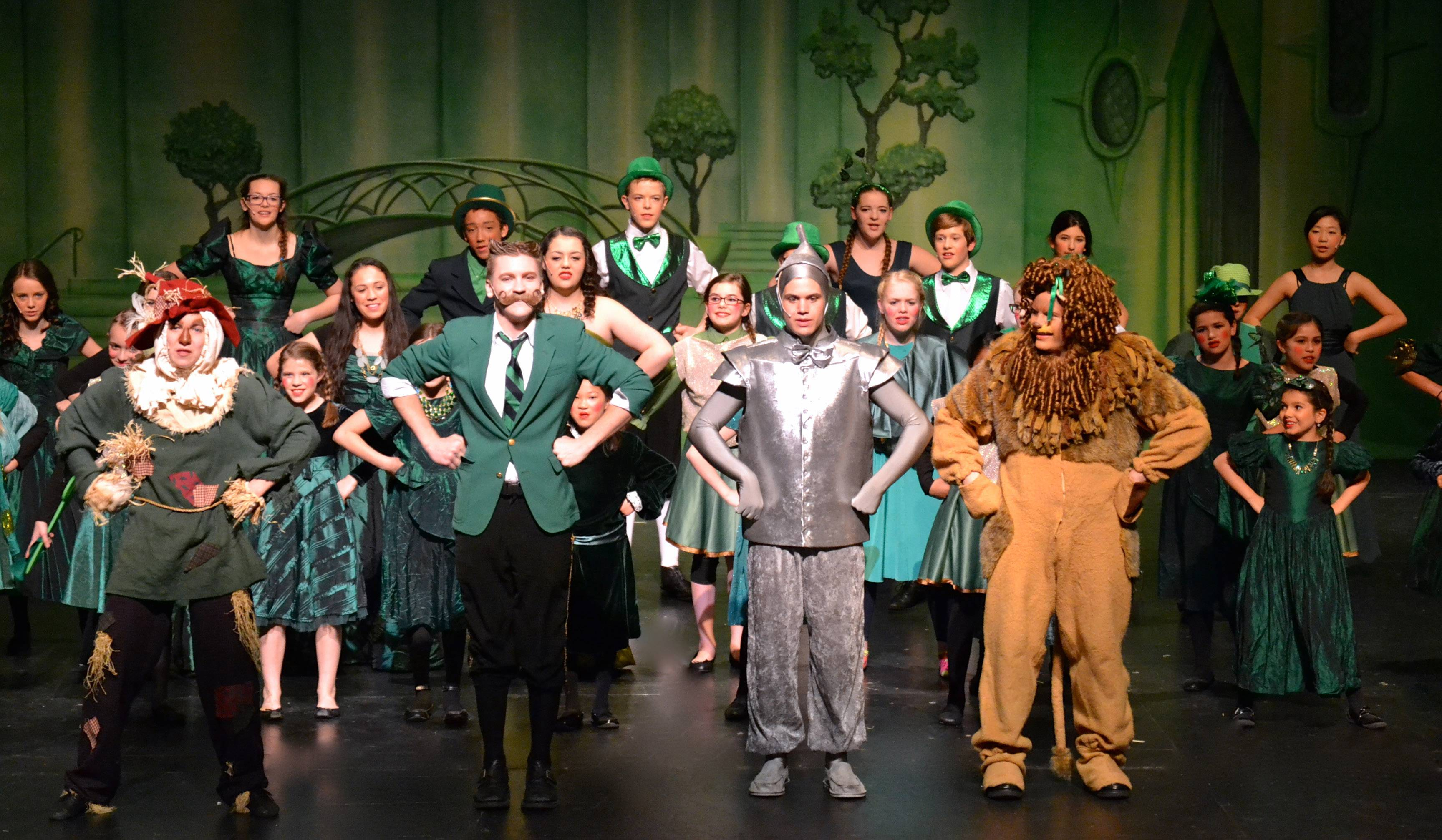 "The cast of the Harvest Christian Academy production of ""The Wizard of Oz"" takes the stage."