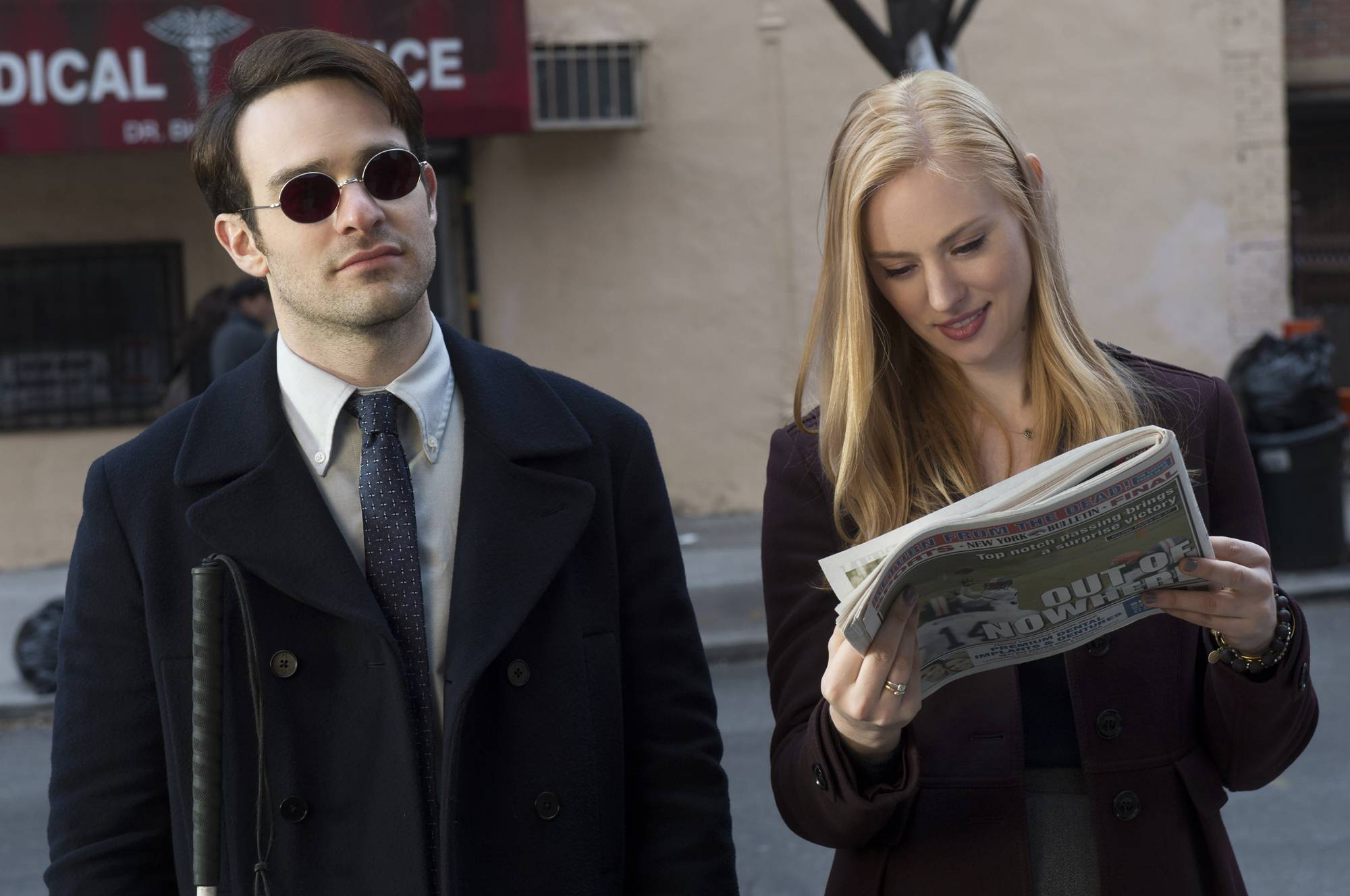"Producer Steven DeKnight calls his Daredevil actor Charlie Cox (here with Deborah Ann Woll), an ""amazing performer"" and a ""leader."" Illustrates DAREDEVIL-NETFLIX-CAST (category e), by David Betancourt (c) 2015, The Washington Post. Moved Sunday, April 11, 2015. (MUST CREDIT: N"