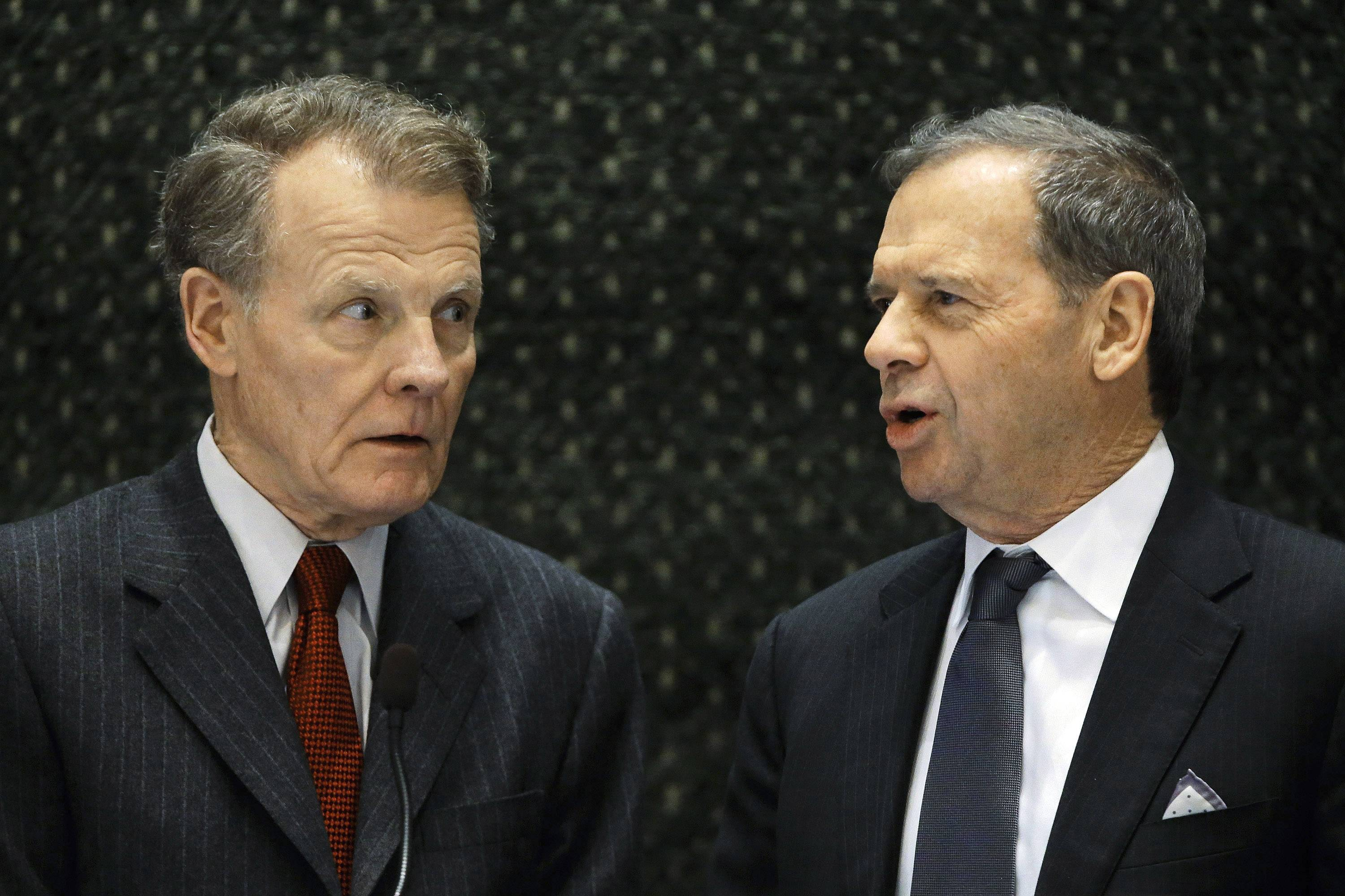 Illinois House Speaker Michael Madigan, D-Chicago, left, and Senate President John Cullerton, D-Chicago, talk before Illinois Republican Gov. Bruce Rauner delivers his budget address to the General Assembly in Springfield.