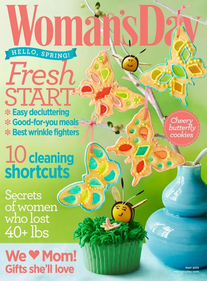 May's Woman's Day features beautiful butterfly cookies and other insect-inspired sweets.