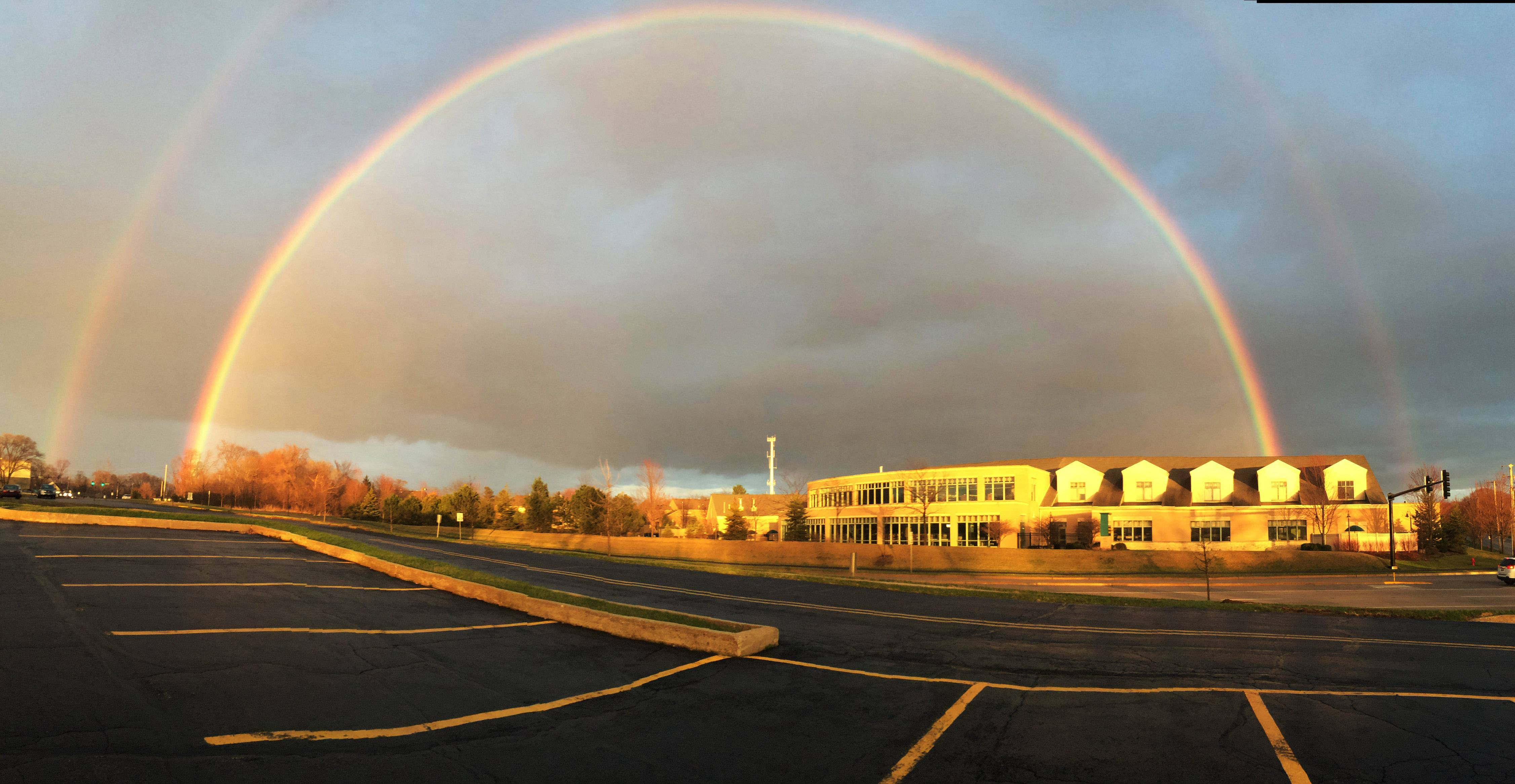 The Ela Area Public Library sits under two rainbows on April 10th in Lake Zurich.