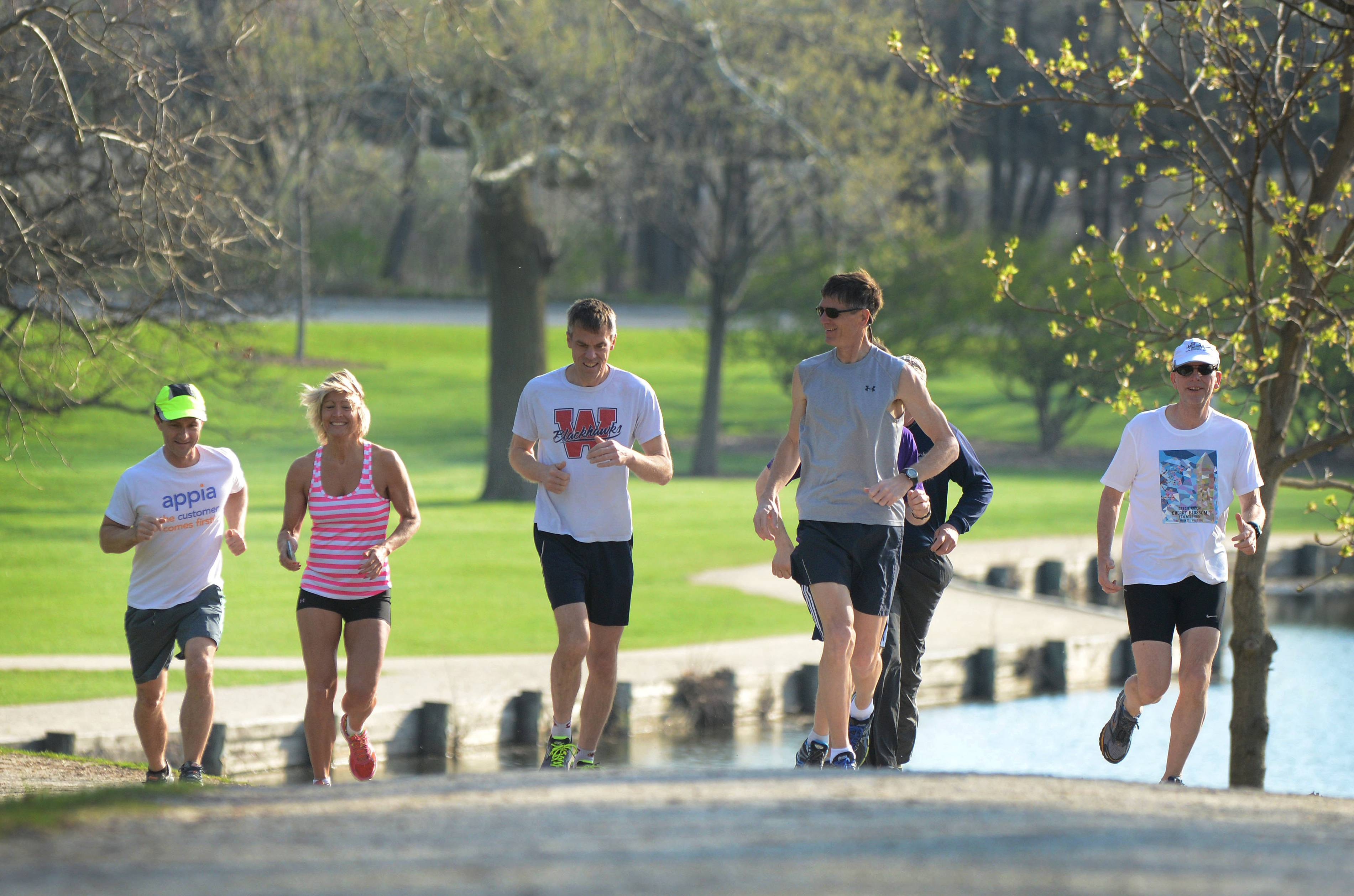 The Lisle Windrunners running club is sending two eight-person teams to compete today in the Illinois River to River Relay race in southern Illinois. Last week, members of the club trained for the relay by running 10 miles at Herrick Lake Forest Preserve near Wheaton.