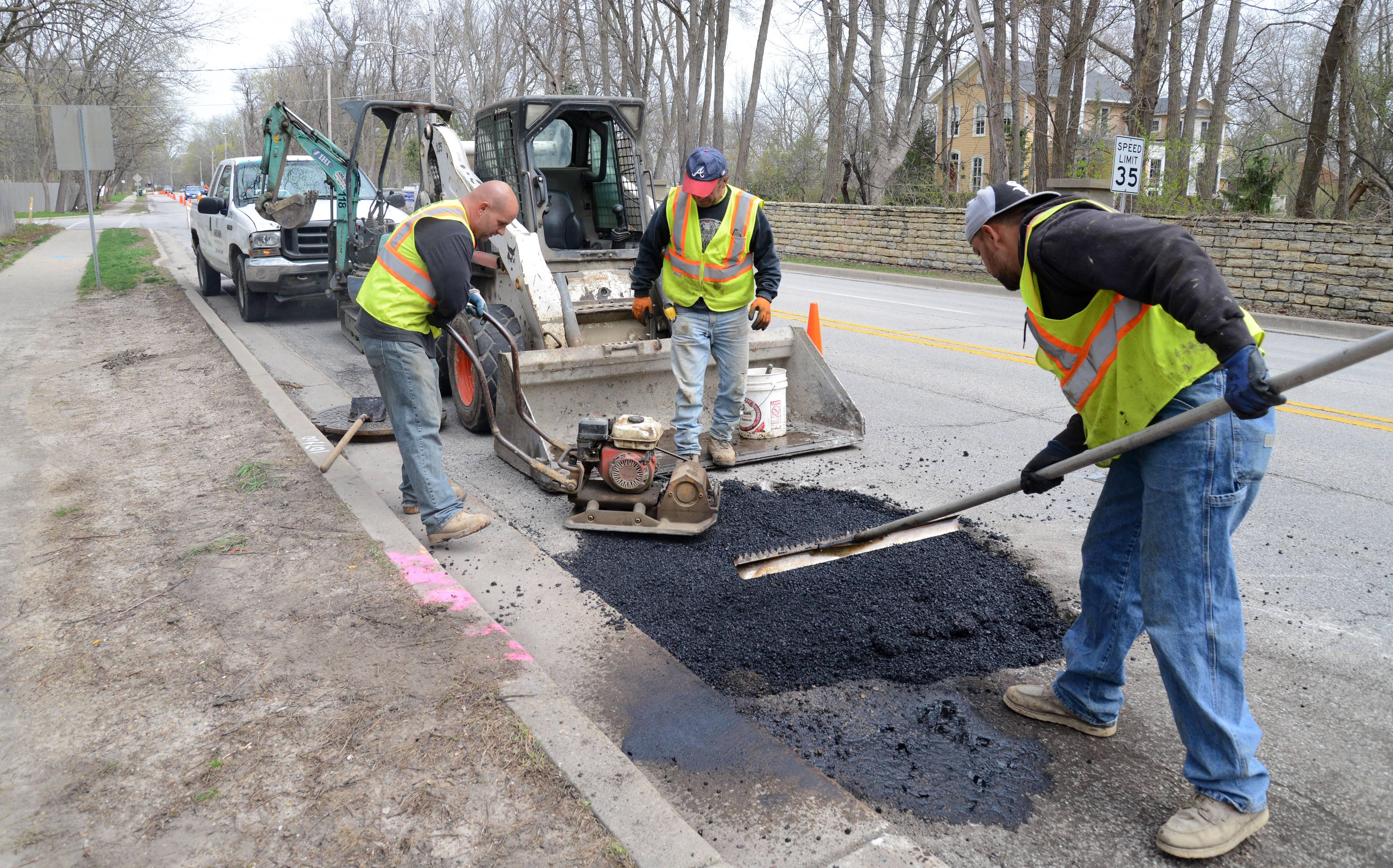 Crews do preliminary road work along southbound Route 31 in Geneva. The stretch of road south of Geneva and through Batavia will be repaved over the summer.