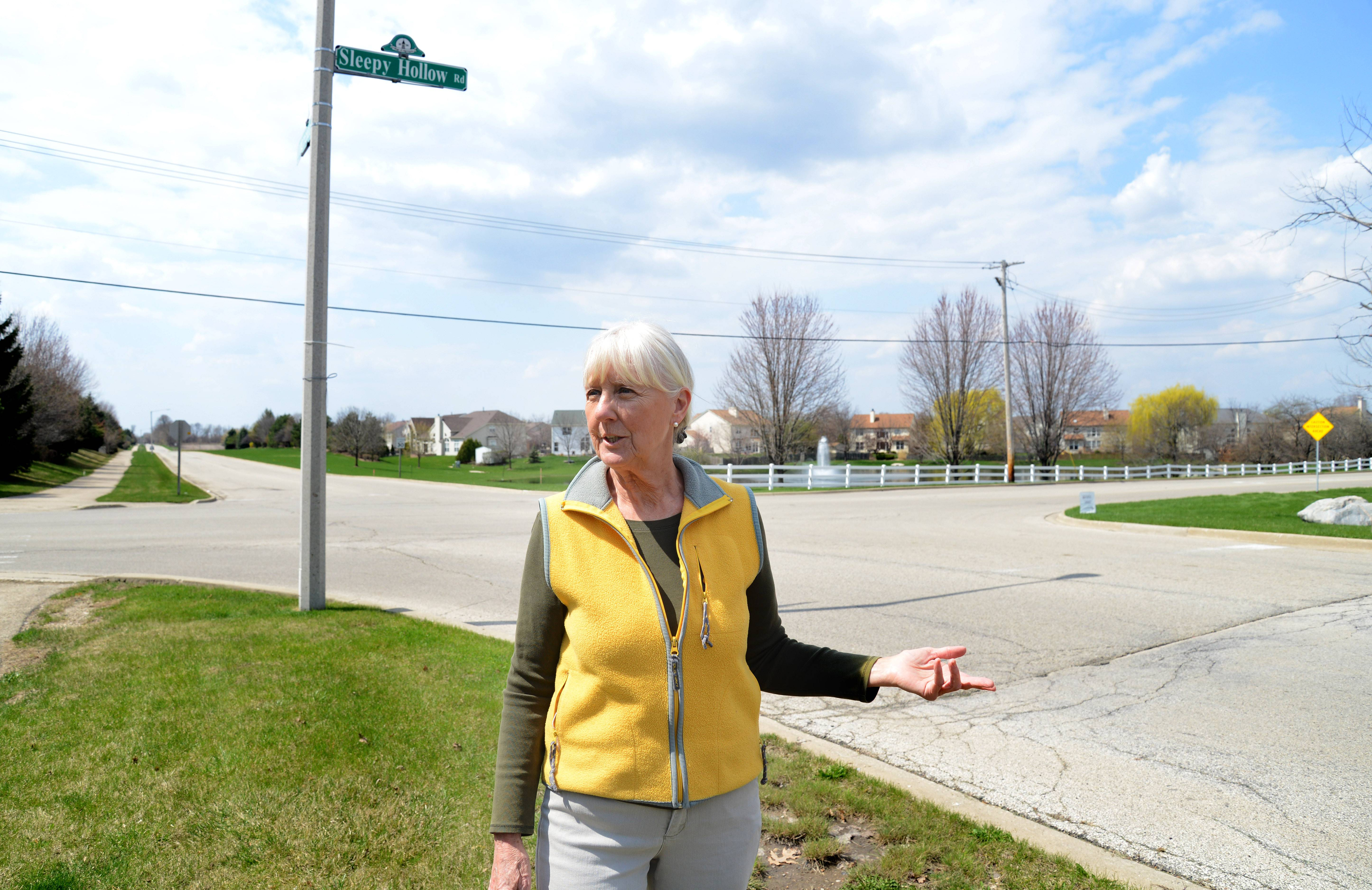 AT DAILYHERALD.COM/MORE: Toll road opponent Jo Ann Fritz of West Dundee stands at the intersection of Sleepy Hollow Road and Longmeadow Parkway in Algonquin and talks about how the road will affect all the homeowners along its path.