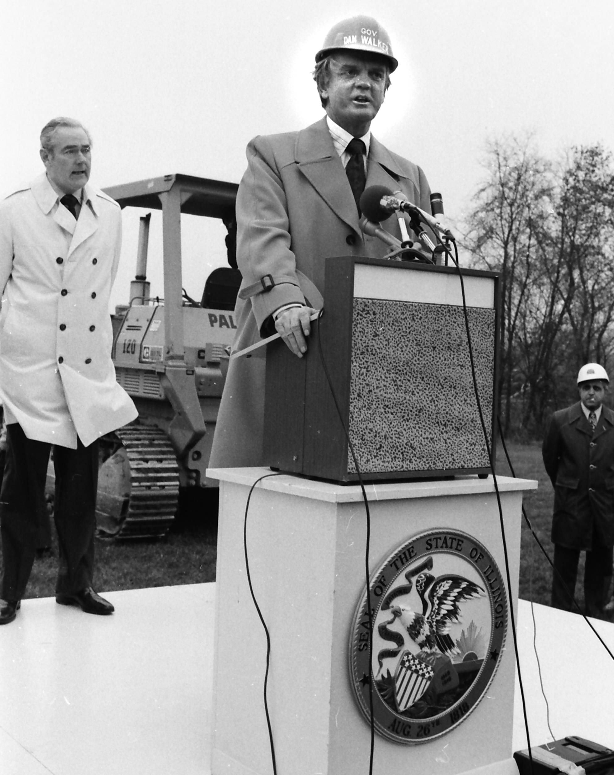 Former Illinois Governor Dan Walker at a water basin groundbreaking in Elk Grove Village.