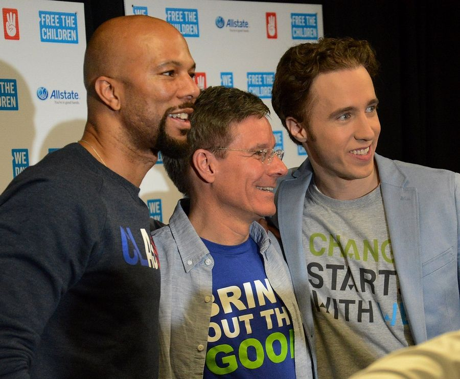 From left, hip-hop artist Common, Tom Wilson, chairman and CEO of the Allstate Corp. and We Day co-founder Craig Kielburger talk about inspiring and motivating youth to become leaders during a news conference at the Allstate Arena in Rosemont.