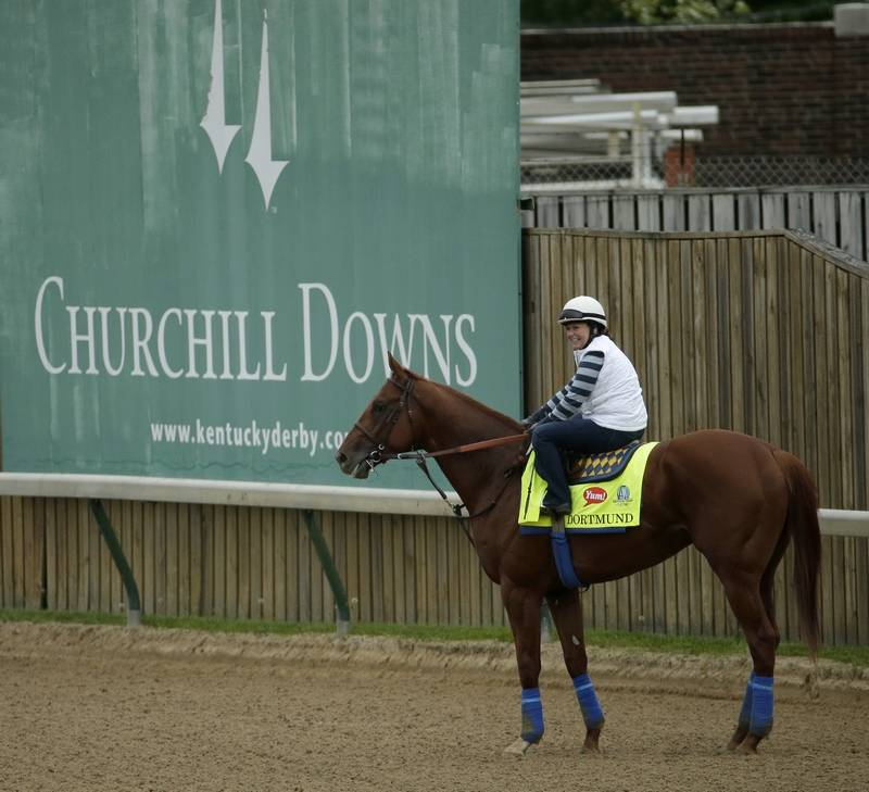 Kentucky Derby Entrant Dortmund Is Ridden By Exercise Rider Dana Barnes During A Morning Workout At