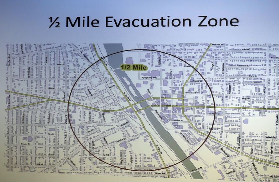 A map displays the evacuation zone that would be the starting point if a train disaster such as an oil explosion happened in downtown Elgin.