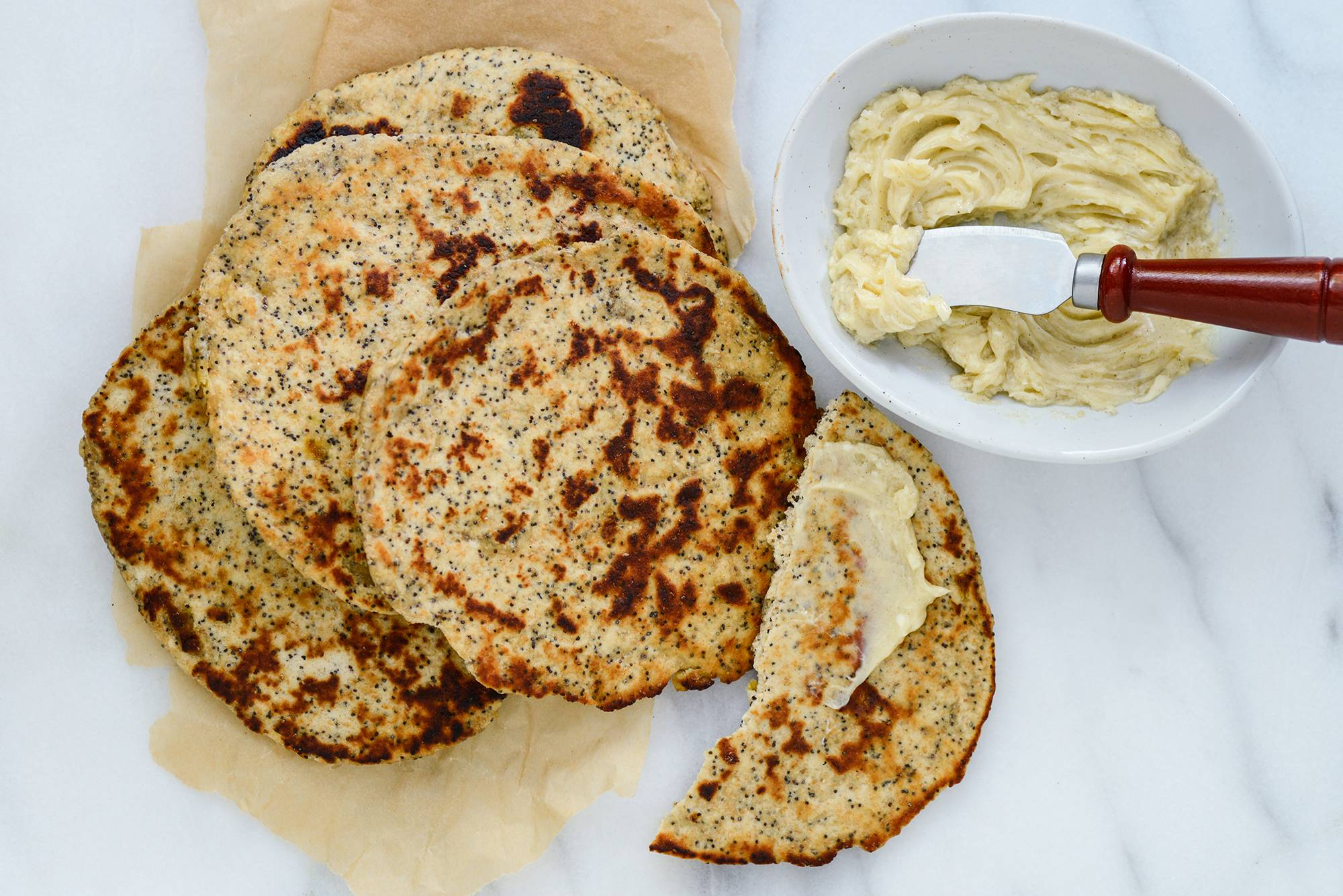 Raisin-Poppy Seed Flatbreads With Cardamom-Honey Butter