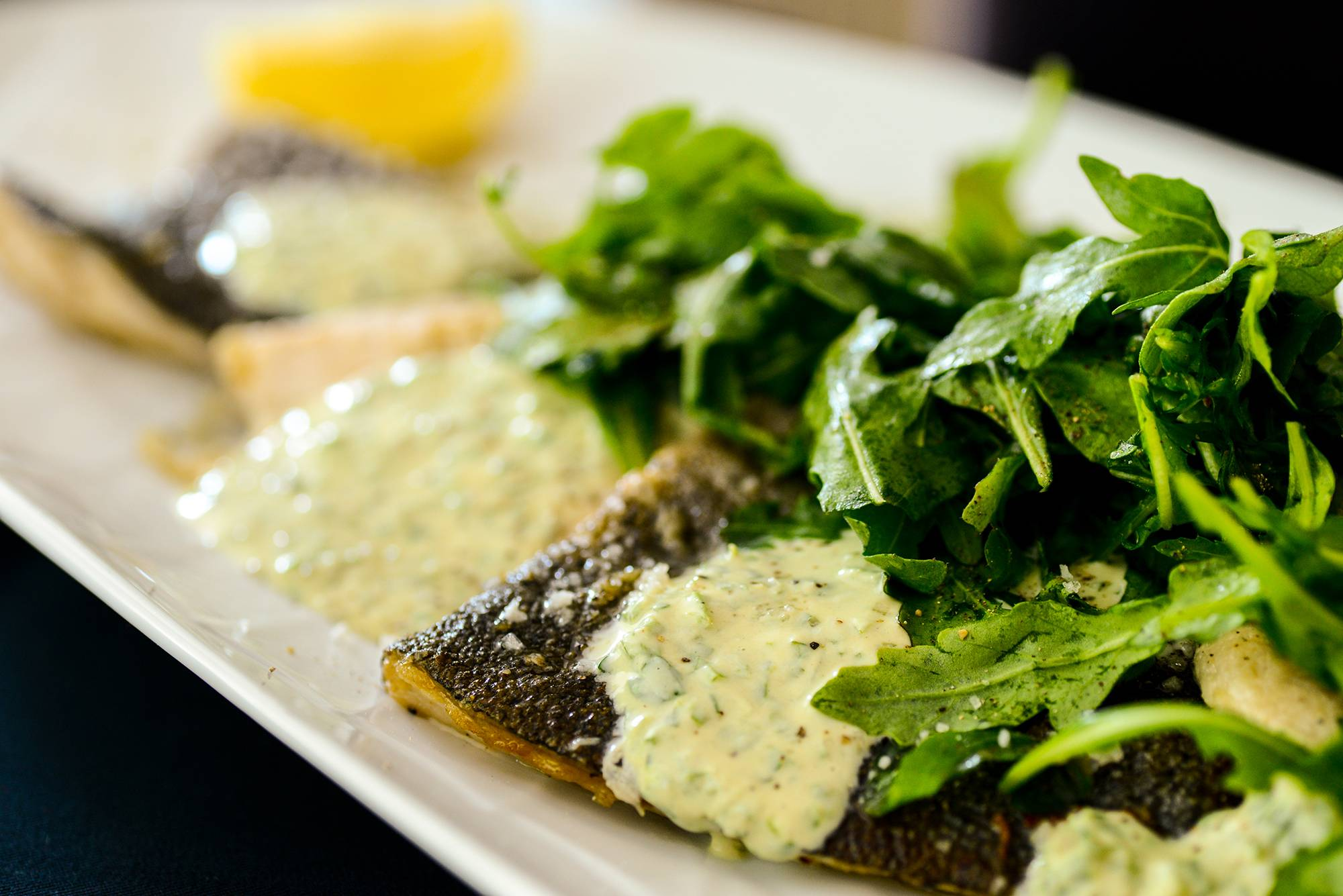 Trout With Tahini-Lemon Yogurt and Baby Arugula