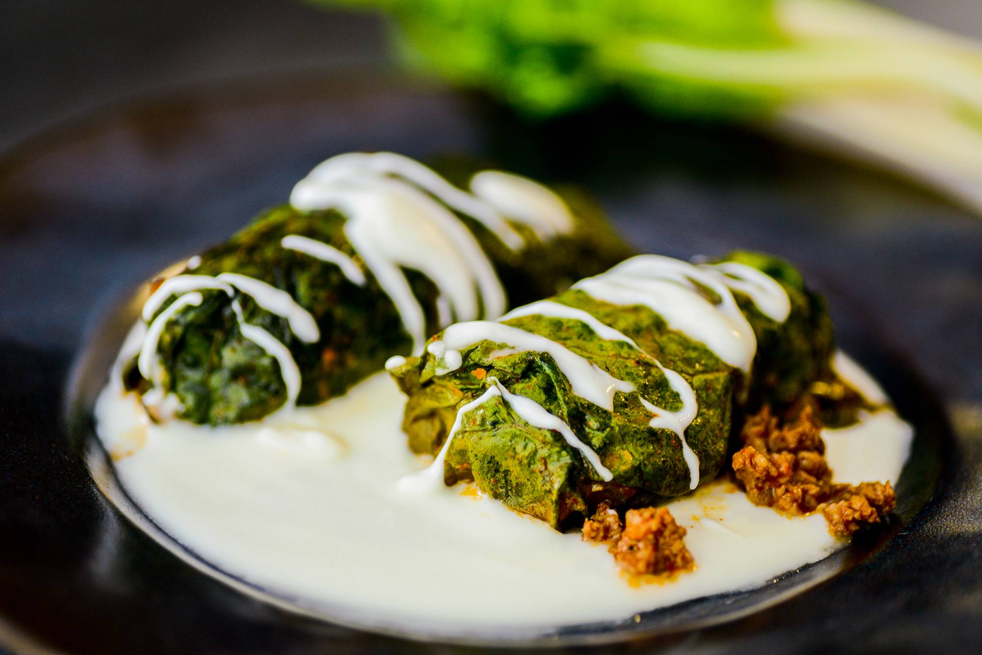 Beef-Stuffed Swiss Chard Rolls With Yogurt Sauce