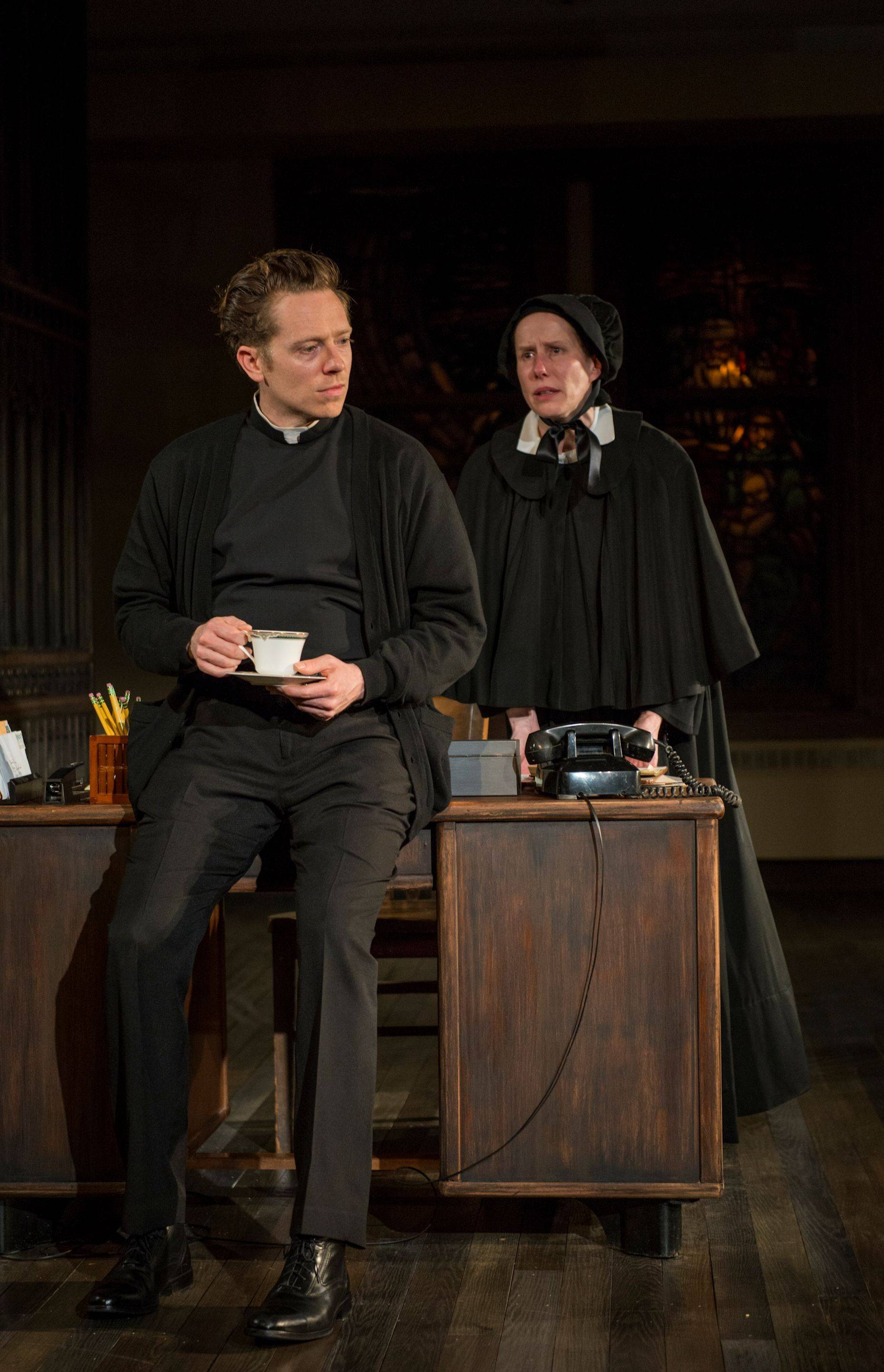 "Father Flynn (Steve Haggard) meets with Sister Aloysius Beauvier (Karen Janes Woditsch) ostensibly to talk about the upcoming Christmas pageant in John Patrick Shanley's ""Doubt: A Parable"" by Writers Theatre at Glencoe Union Church."