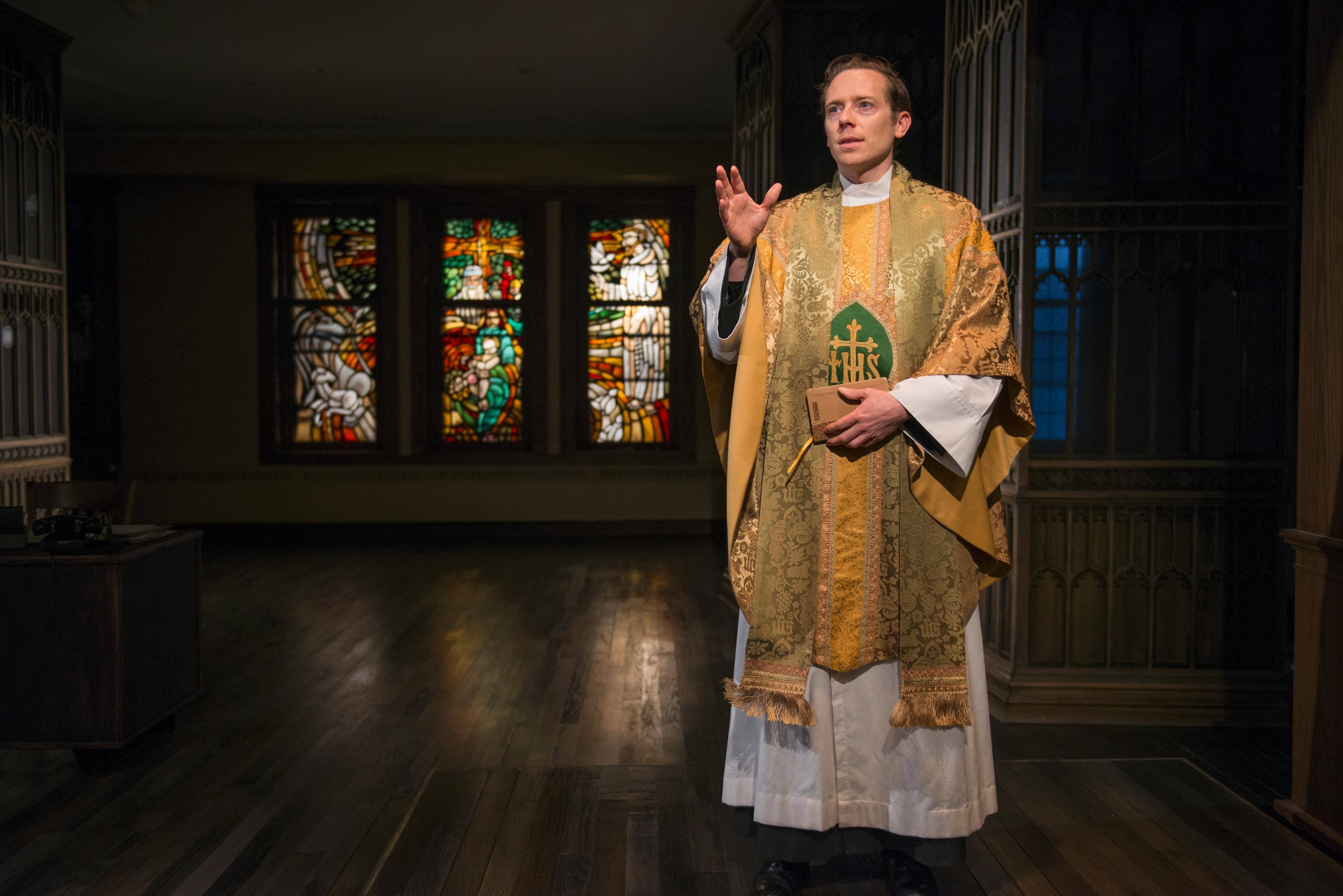 "Father Flynn (Steve Haggard) leads a sermon on faith pitting doubt against certainty in John Patrick Shanley's ""Doubt: A Parable"" by Writers Theatre in a site-specific production at Glencoe Union Church."
