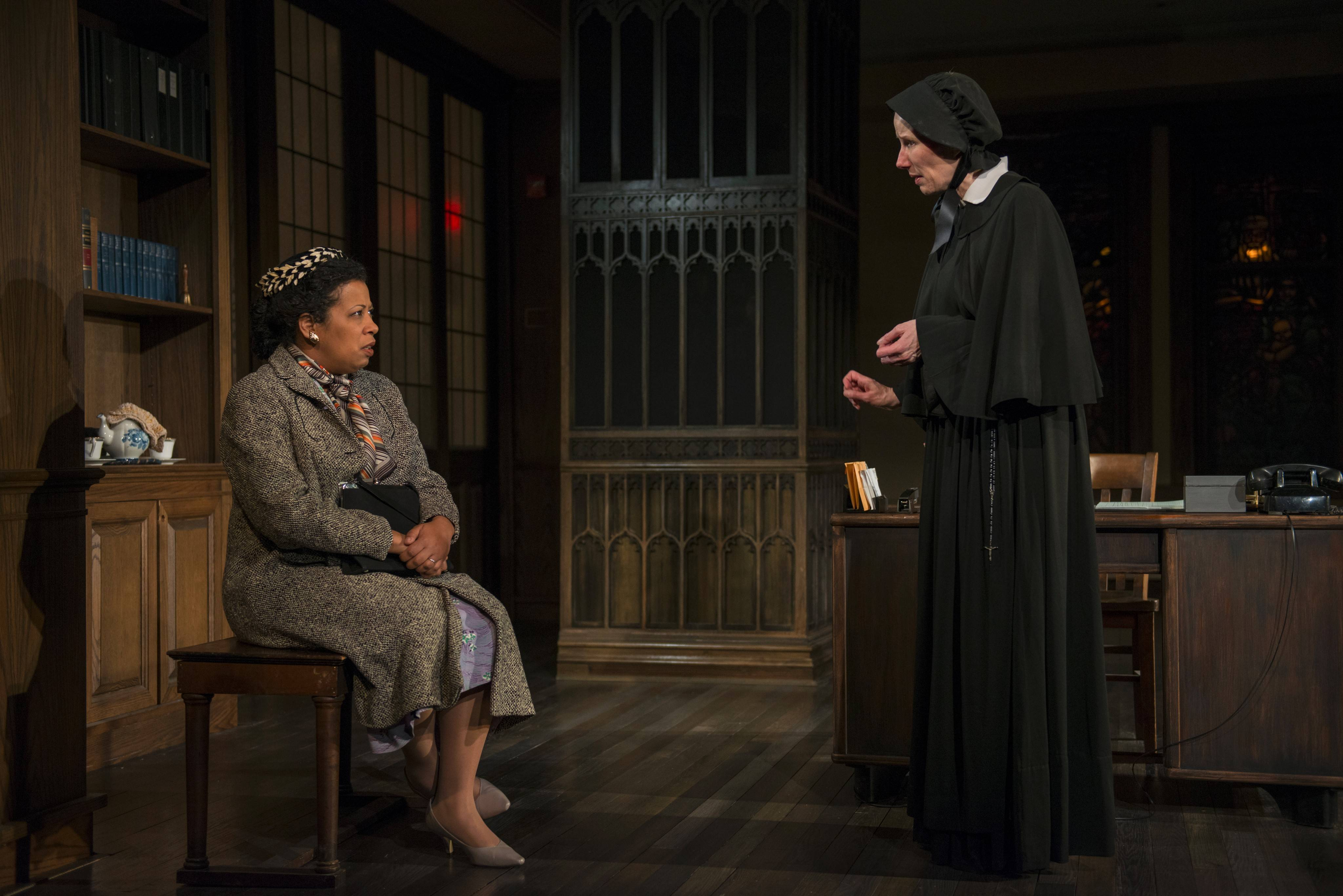 "Sister Aloysius Beauvier (Karen Janes Woditsch), right, speaks with Mrs. Muller (Ann Joseph) about her son, Donald, in Writers Theatre's production of ""Doubt: A Parable."""