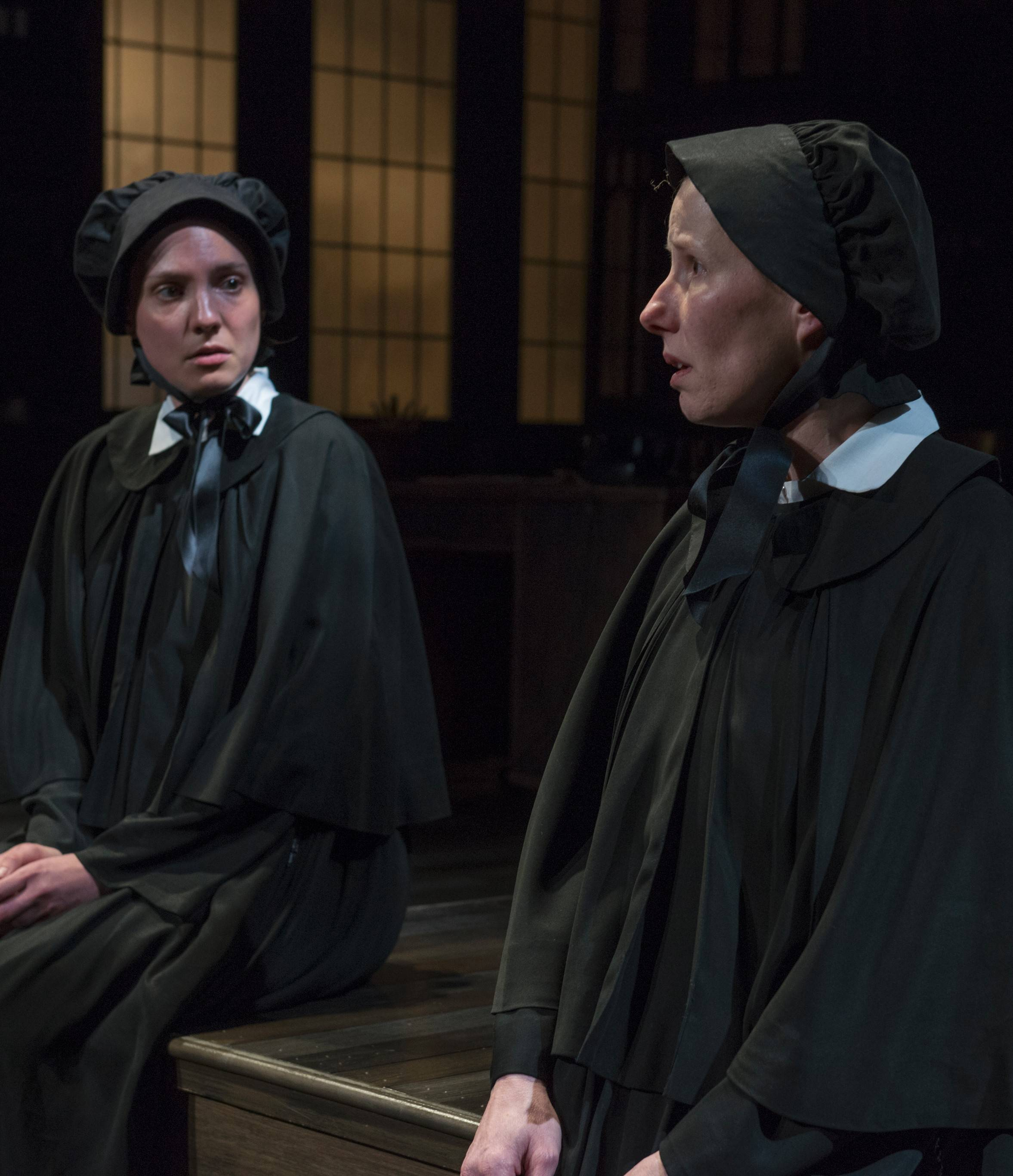 "Sister James (Eliza Stoughton), left, is reluctant to share her suspicions about Father Flynn to her superior, Sister Aloysius Beauvier (Karen Janes Woditsch), in John Patrick Shanley's ""Doubt: A Parable"" by Writers Theatre."