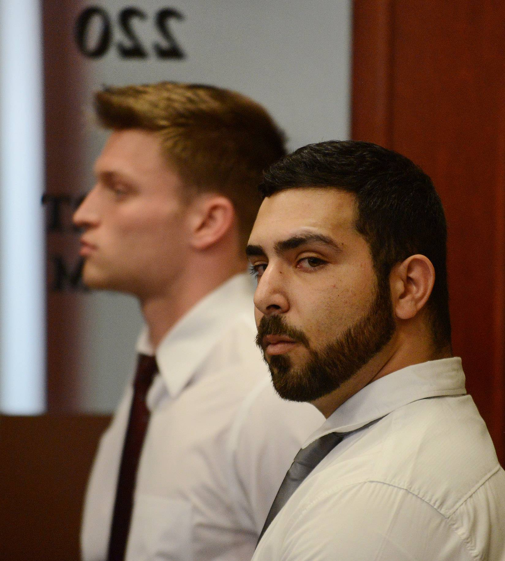 Steven A. Libert of Naperville, left, and Mar Salameh of DeKalb pleaded guilty to reckless conduct misdemeanor charges in the hazing death of Northern Illinois University freshman David Bogenberger of Palatine Friday at the DeKalb County Courthouse in Sycamore.