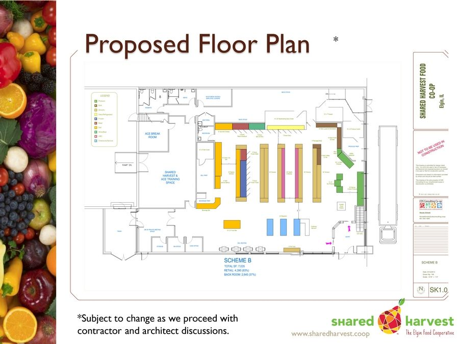 The proposed floor plan of Shared Harvest food co-op. The group made a presentation to Elgin City Council members Wednesday.